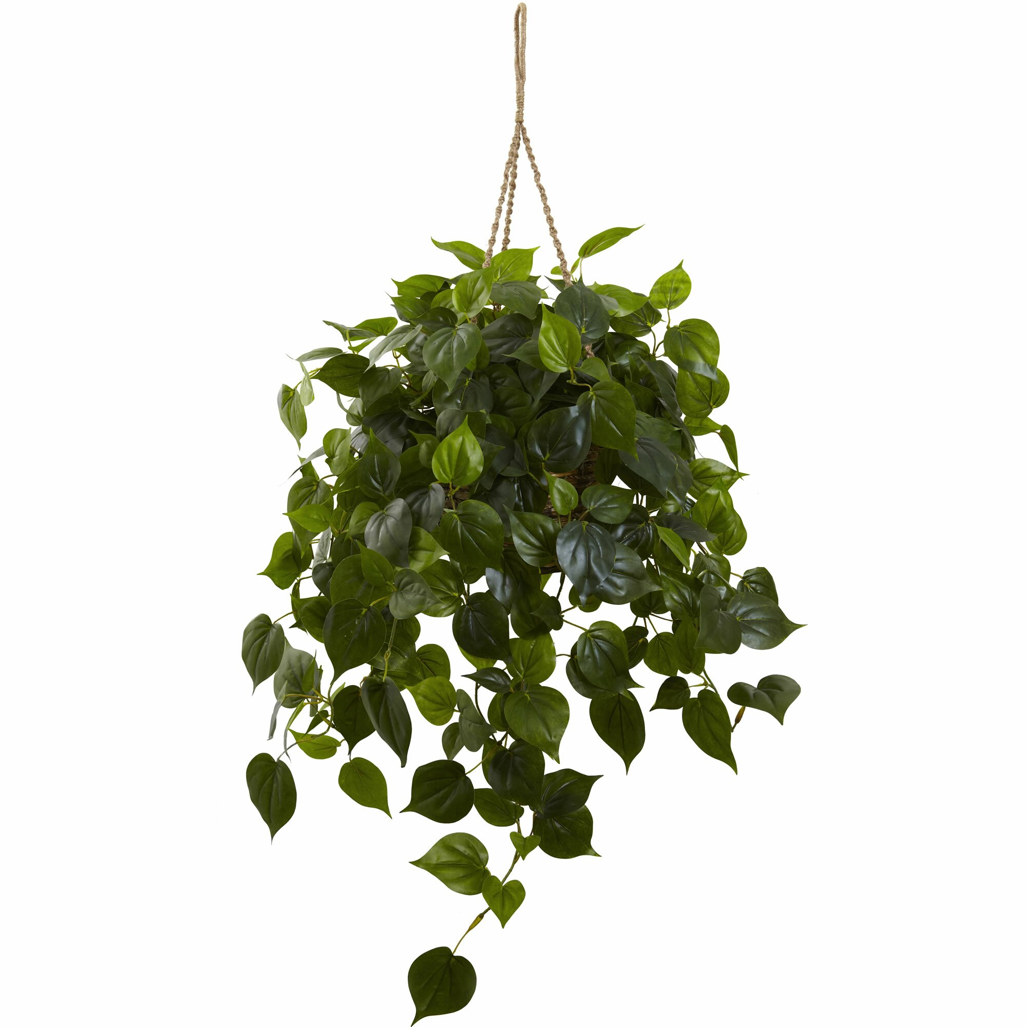 Nearly Natural Philodendron Hanging Plant In Basket