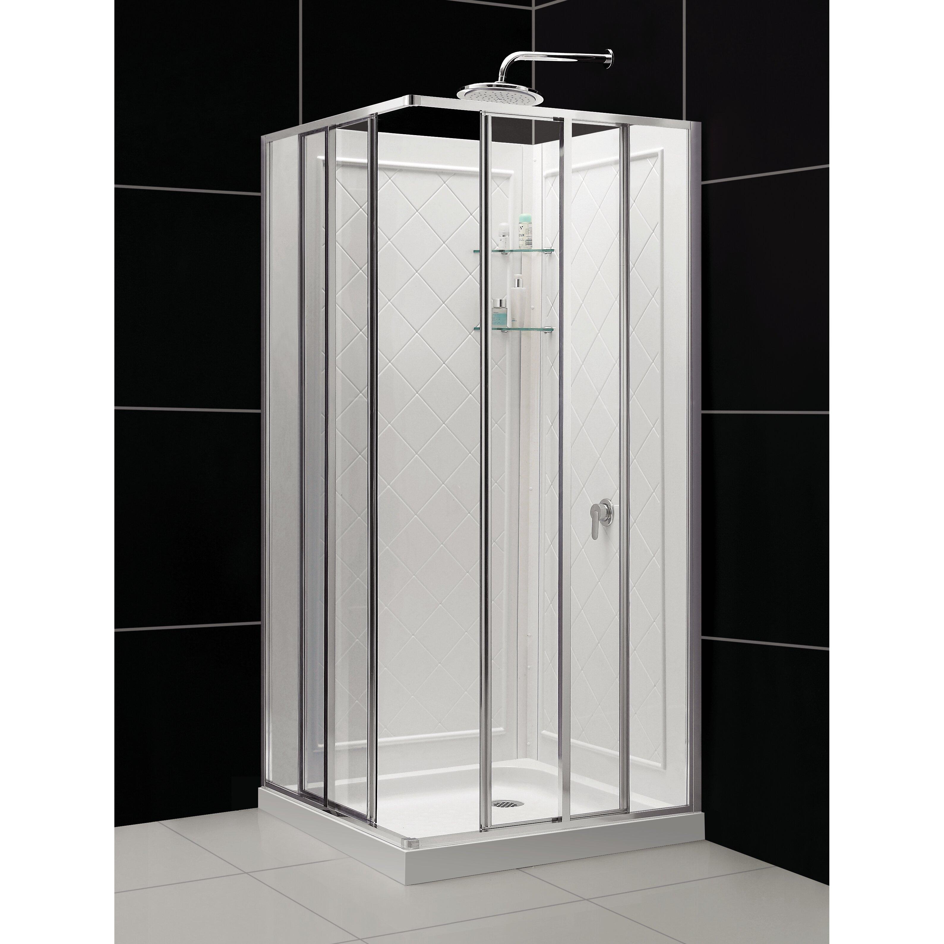 DreamLine Cornerview 34 5 X 34 5 X 72 Square Sliding Shower