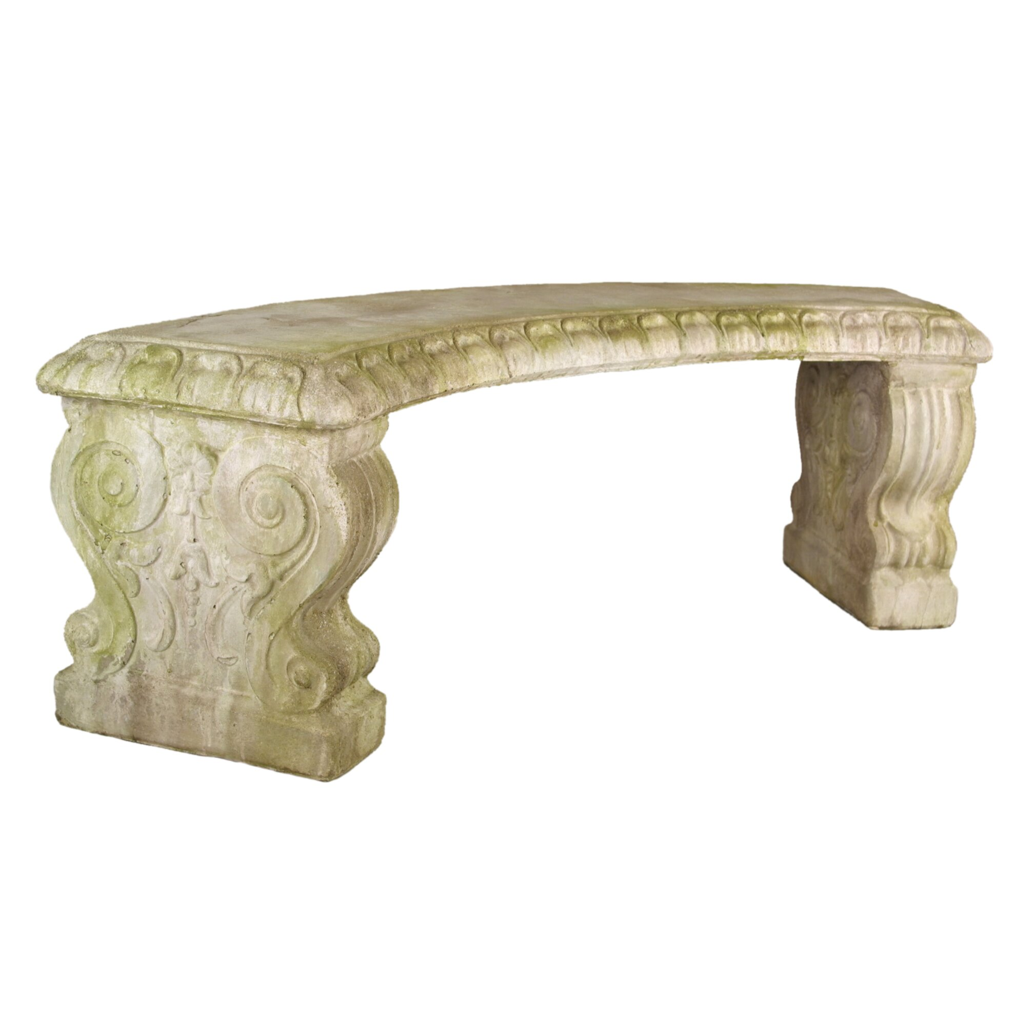 OrlandiStatuary Furniture Curved Stone Garden Bench Reviews