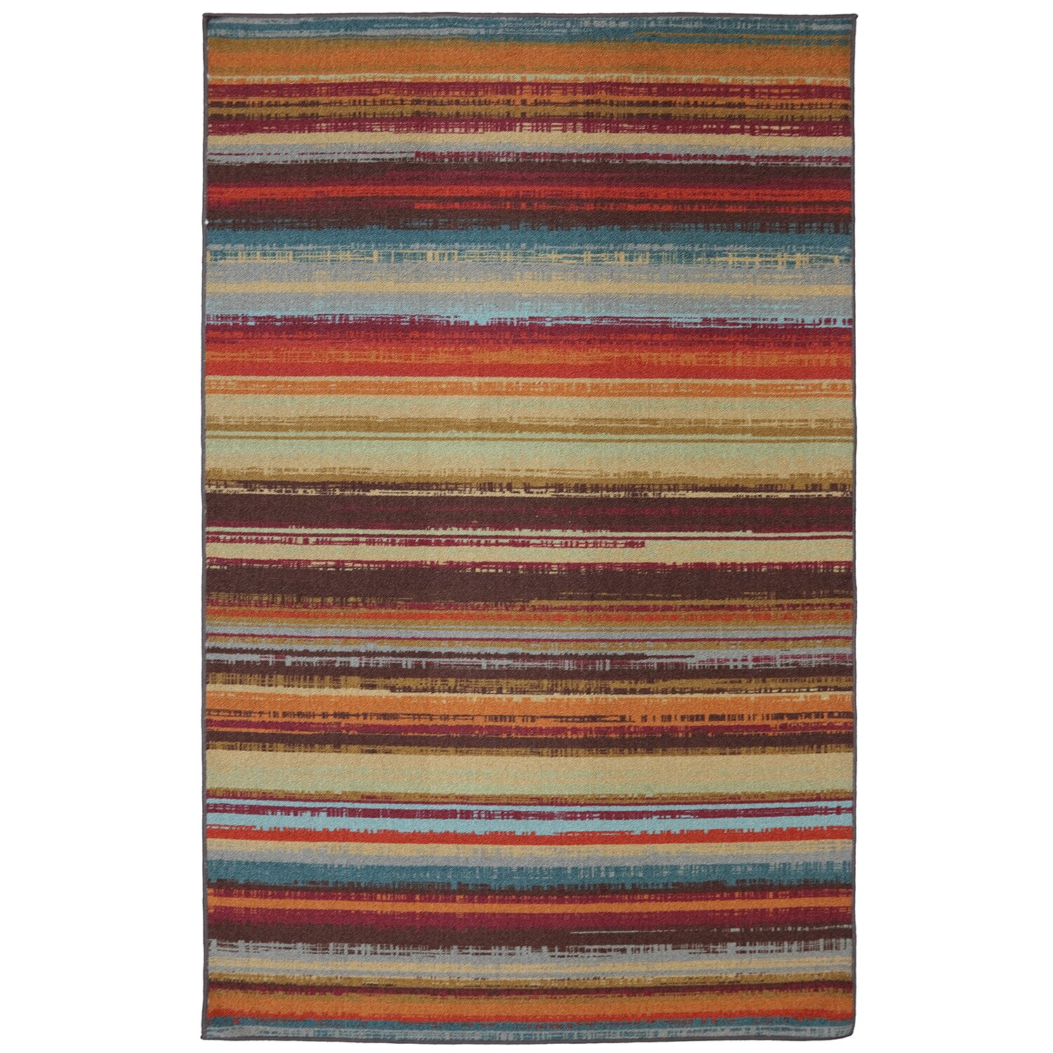 Mohawk Home Patio Avenue Stripe Hand Tufted Brown Indoor