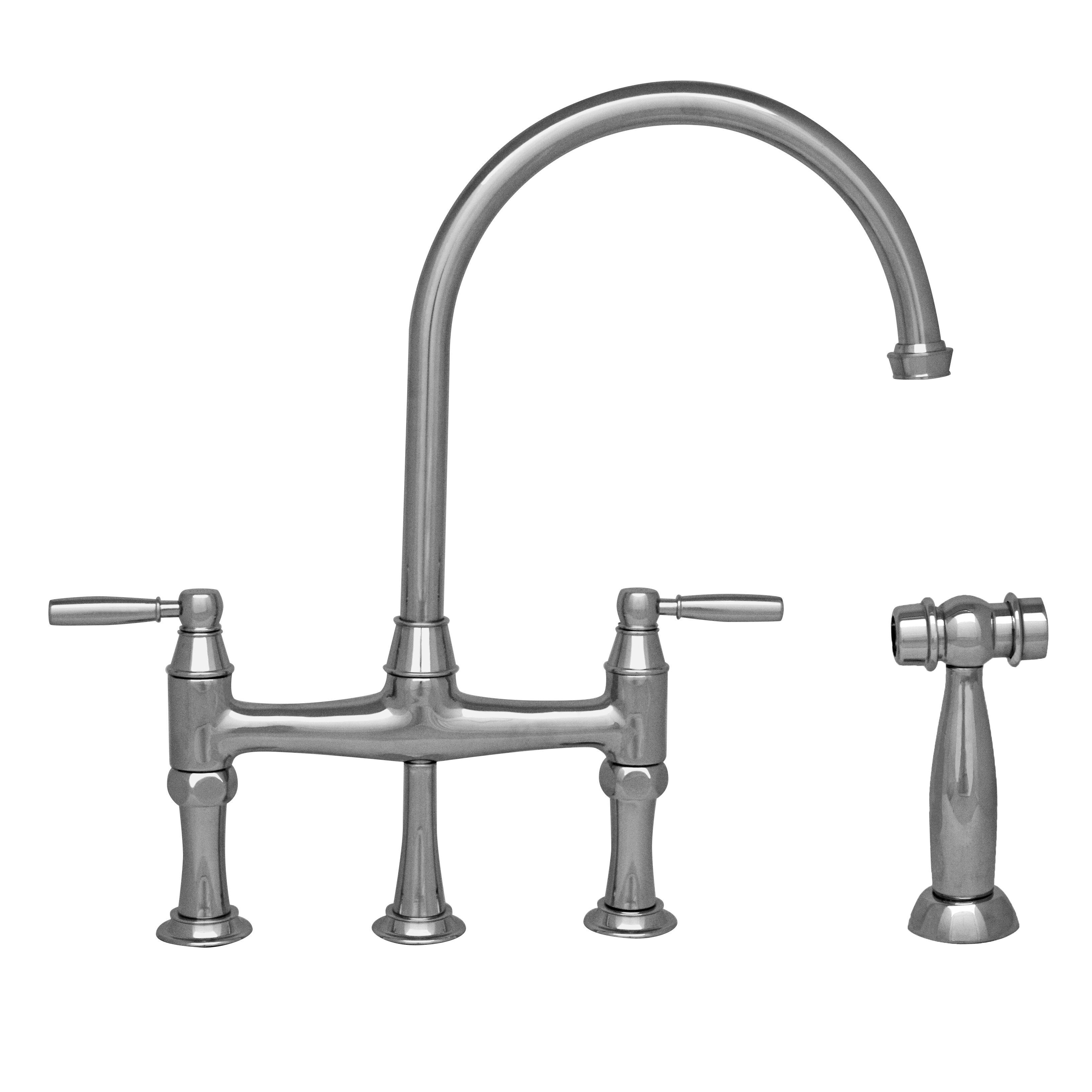 Double Handle Kitchen Faucet Whitehaus Collection Queenhaus Double Handle Deck Mounted Kitchen