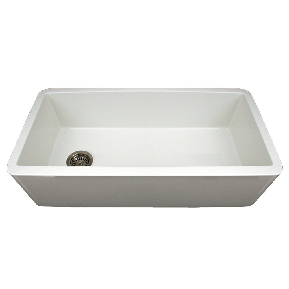 Whitehaus Collection Farmhaus Fireclay 36 x 18 Duet Reversible Kitchen Sink with Smooth Front Apron