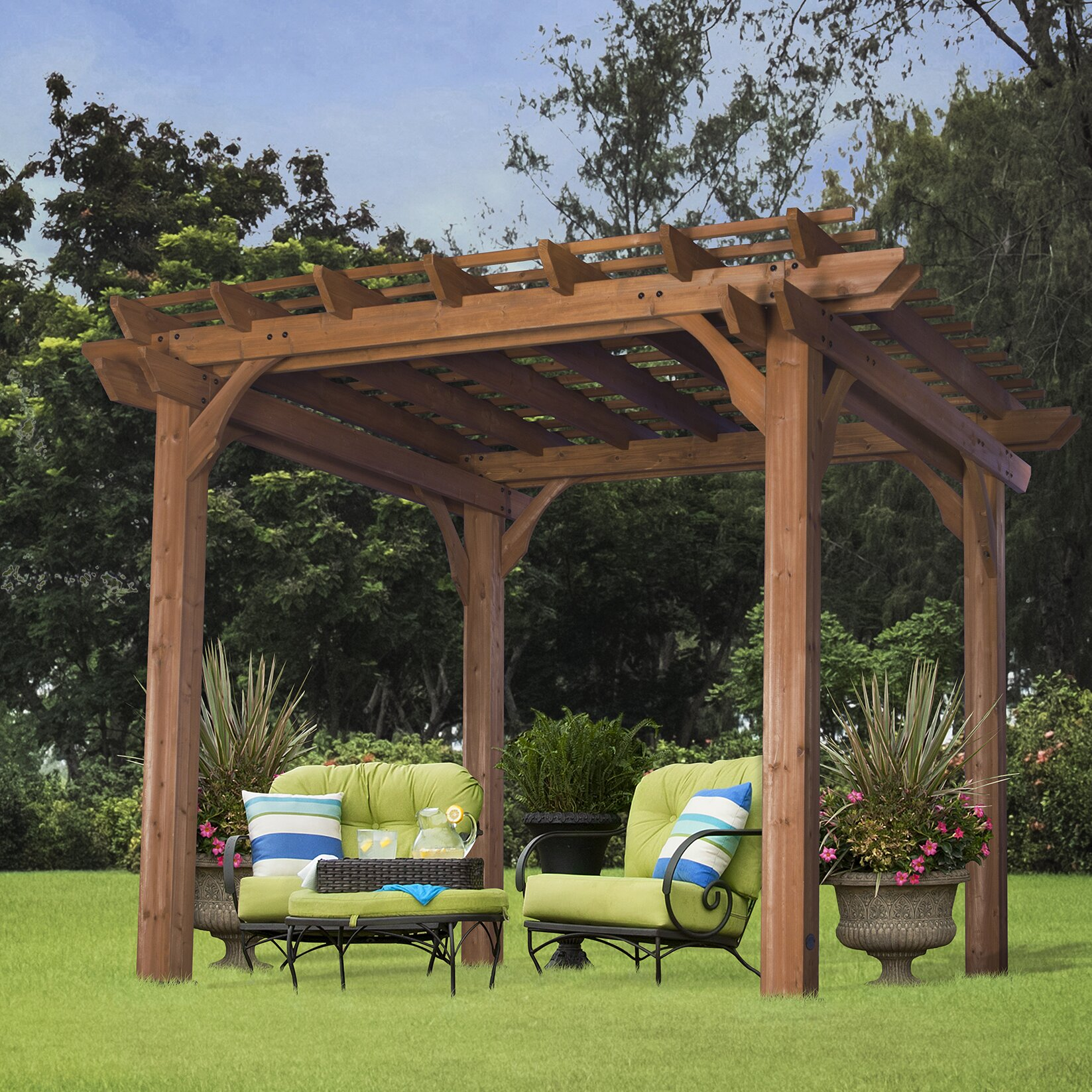 backyard discovery 7 8 ft h x 10 ft w x 10 ft d cedar pergola