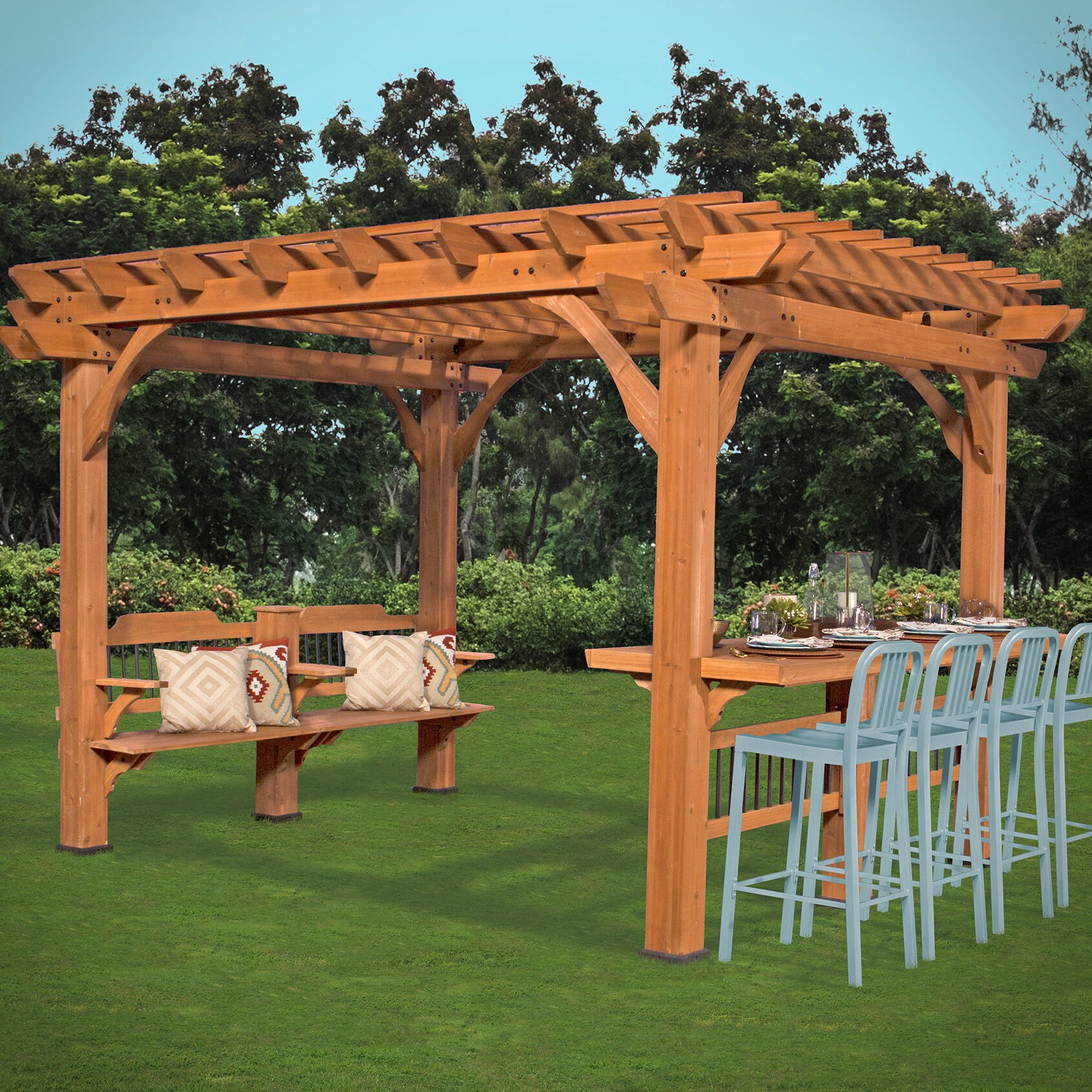 backyard discovery oasis ft h x 12 ft w x 10 ft d pergola