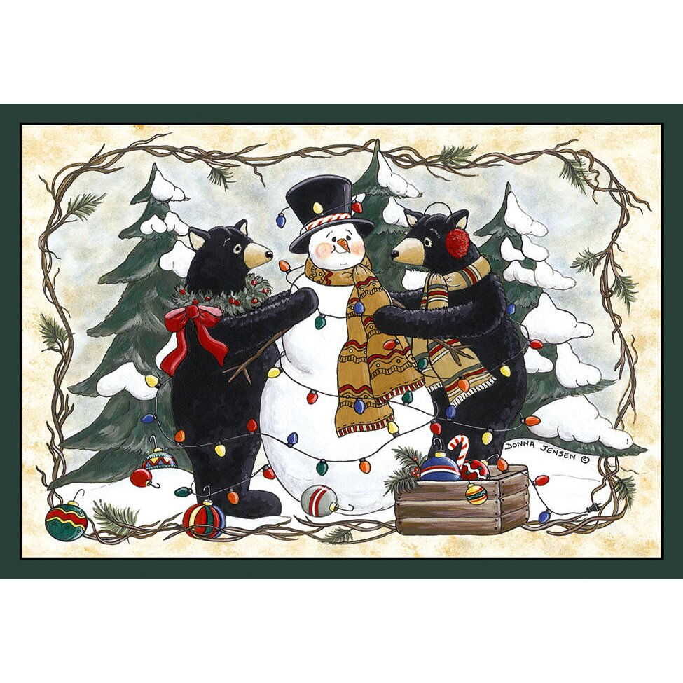 Great Custom Printed Rugs Home Accents Bears And Snowman Area Rug