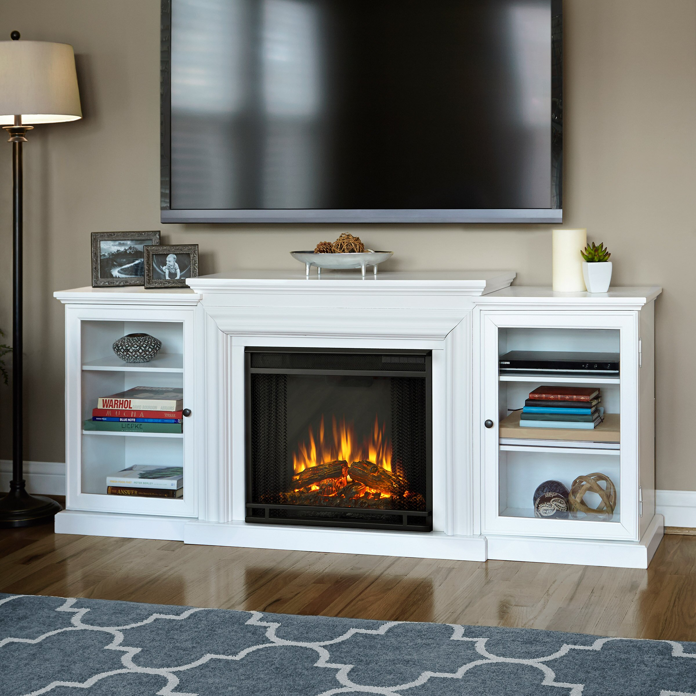flame frederick tv stand with electric fireplace reviews wayfair