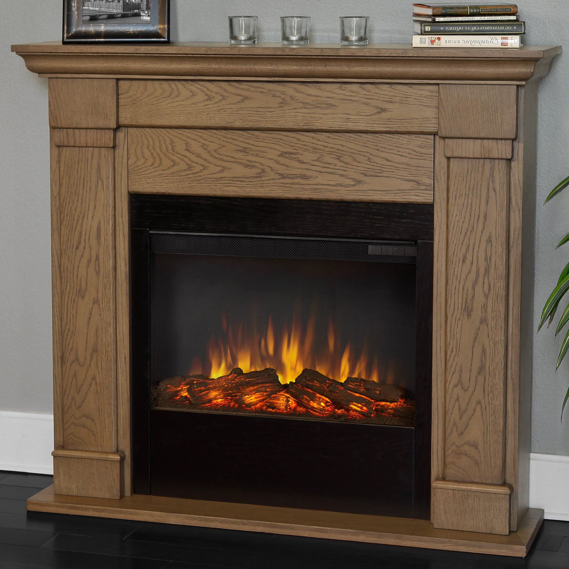 Slimline Wall Mounted Electric Fires: Real Flame Slim Lowry Wall Mount Electric Fireplace
