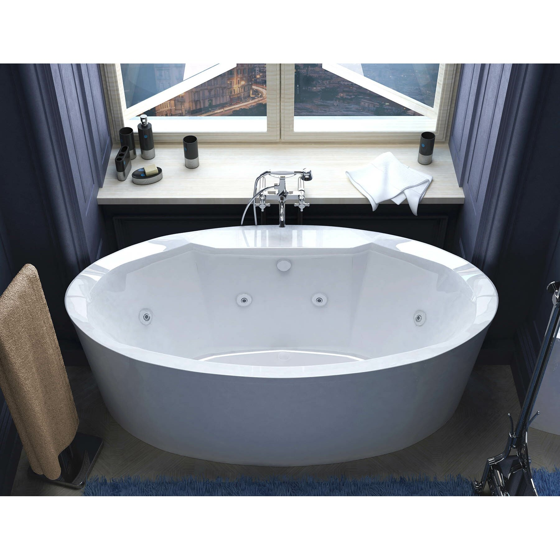 Spa Escapes Salina 6718quot x 3343quot Oval Freestanding  : Spa Escapes Salina 6718 x 3343 Oval Freestanding Whirlpool Jetted Bathtub with Center Drain from www.wayfair.com size 1800 x 1800 jpeg 401kB