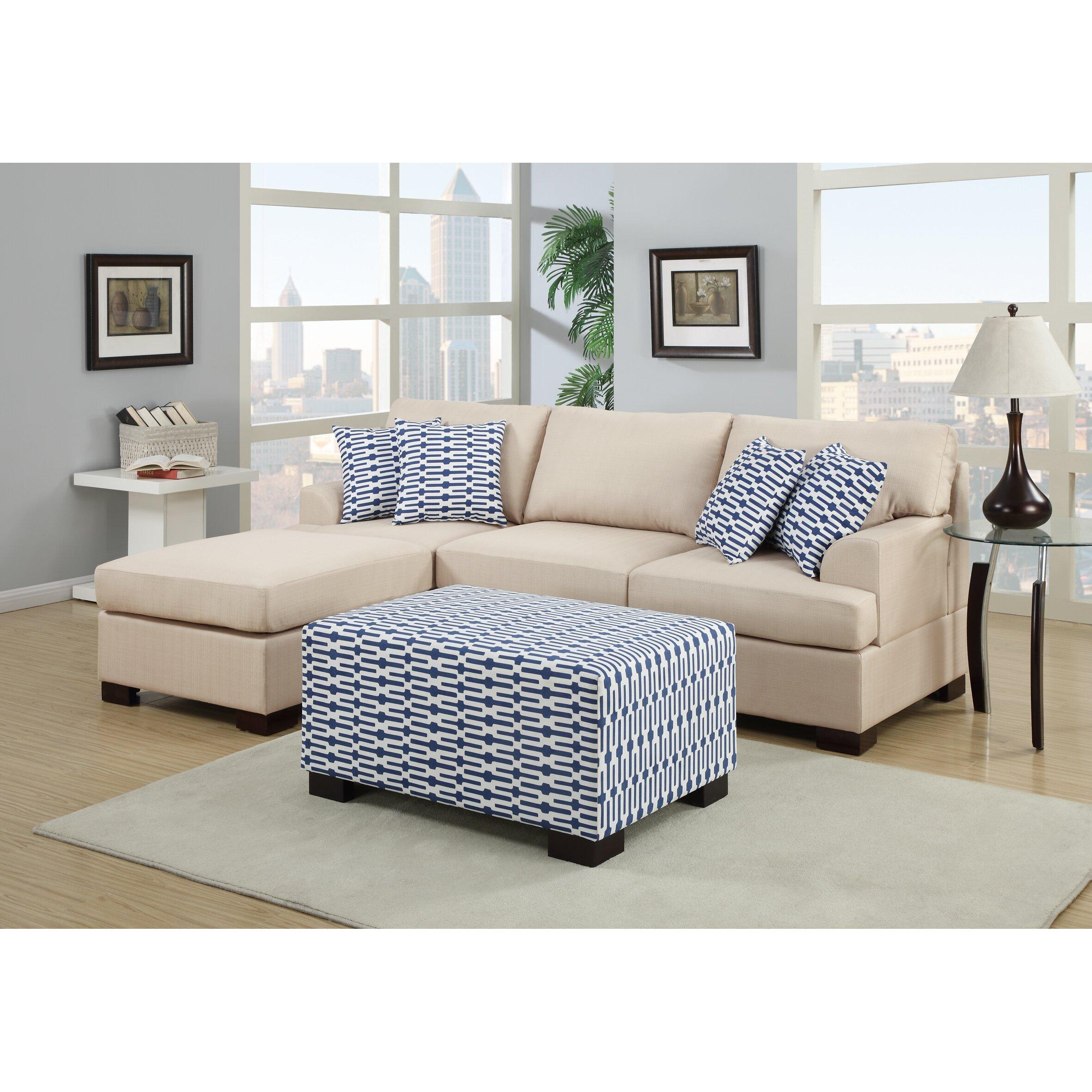 Poundex Sectional White Leather Sofa Chaise: Poundex Bobkona Roman Reversible Chaise Sectional