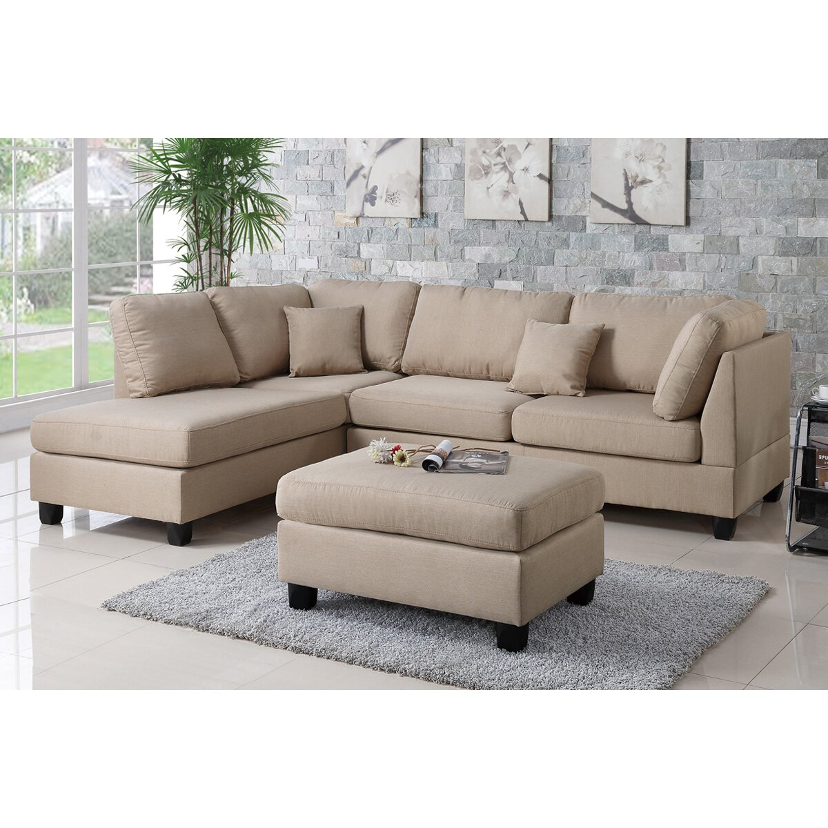 Poundex Sectional White Leather Sofa Chaise: Poundex Bobkona Dervon Reversible Chaise Sectional