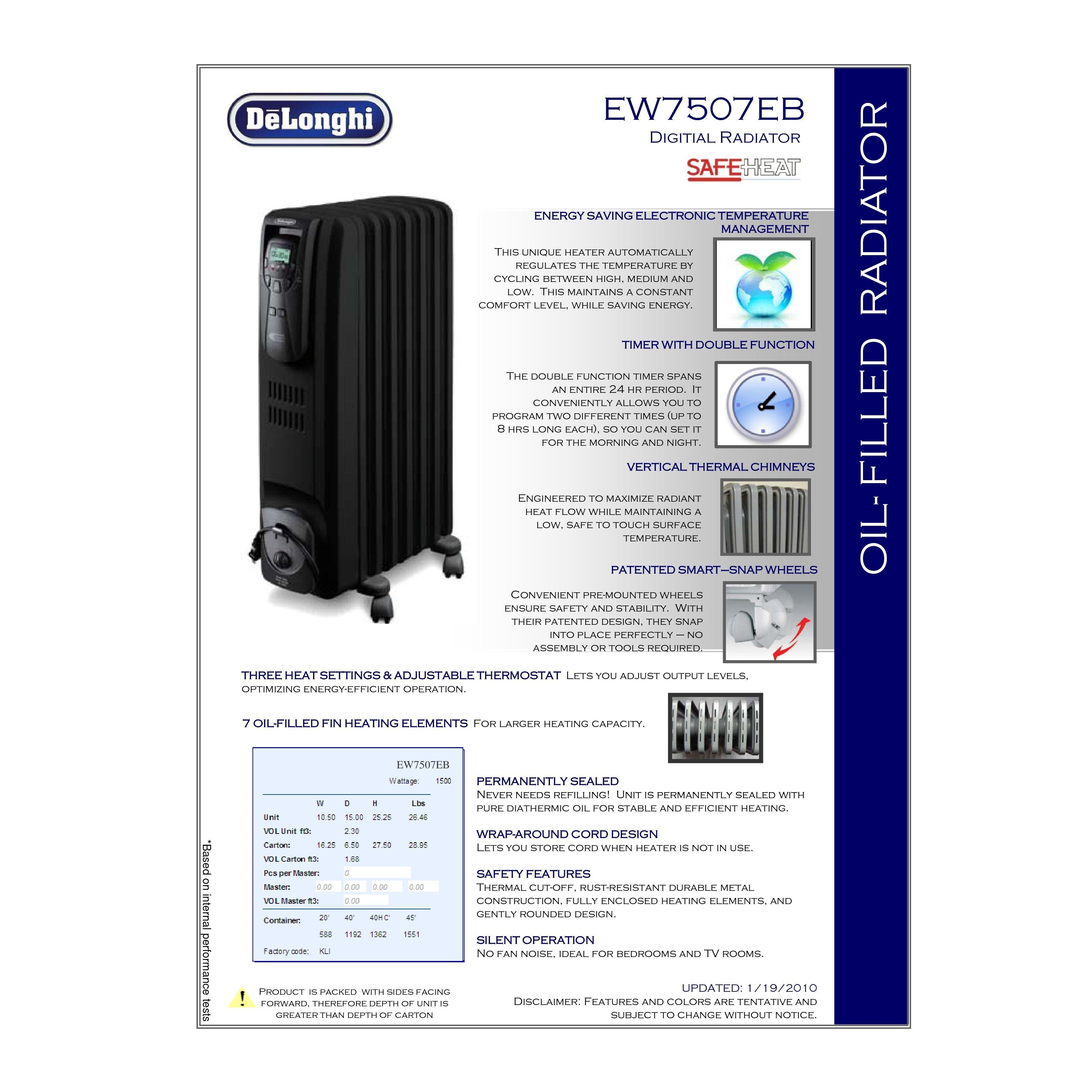Delonghi safe heat oil filled radiator - Delonghi 1 500 Watt Portable Electric Radiant Radiator Heater