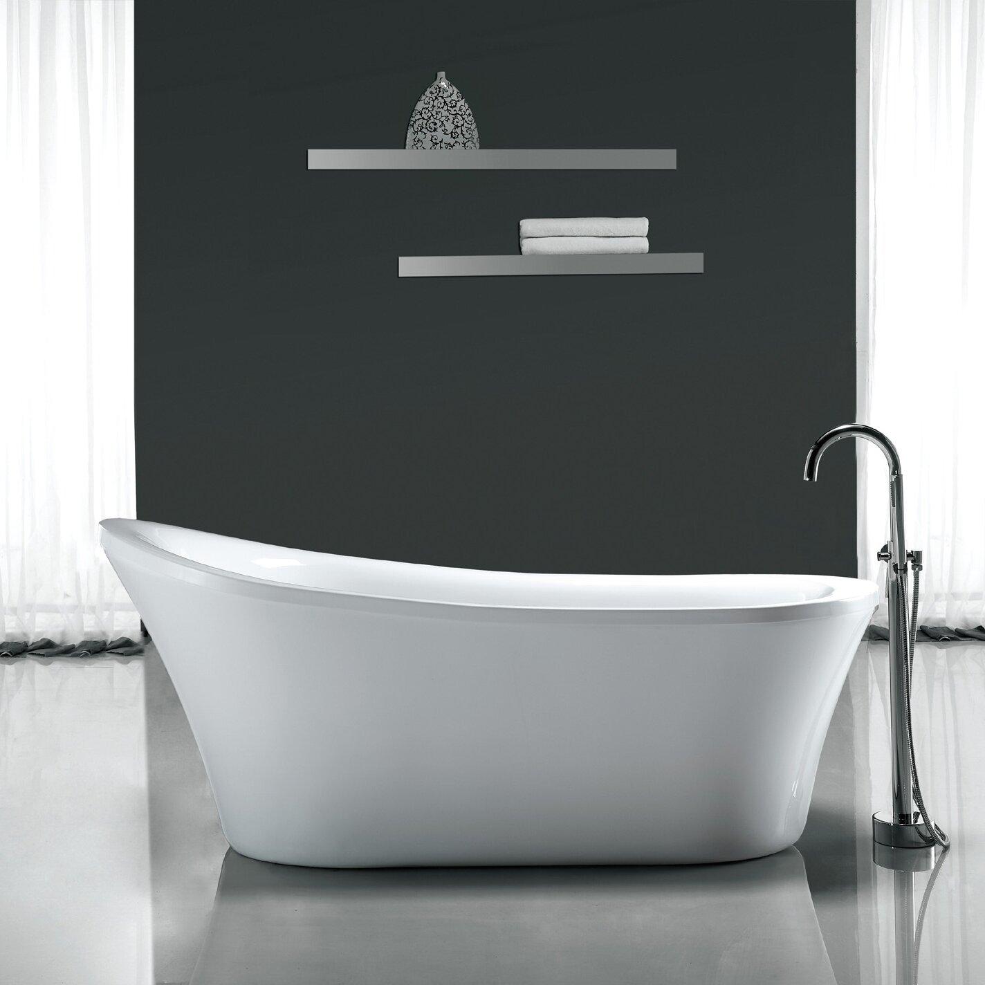 "Freestanding Bathtub: Ove Decors Rachel 70"" X 34"" Freestanding Acrylic Slipper"