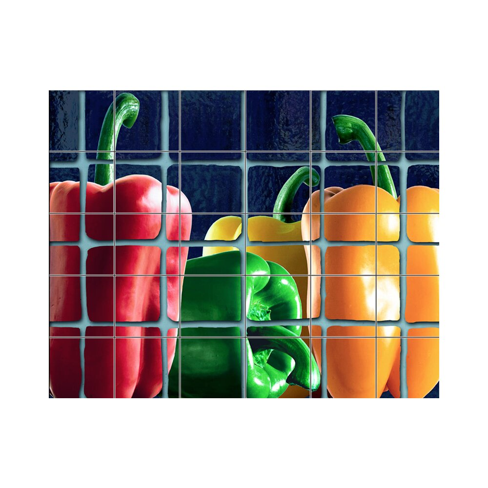 Kitchen Mural Lmt Tile Murals Peppers Kitchen Tile Mural In Multi Colored