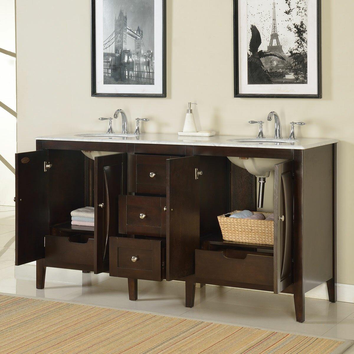 Silkroad Exclusive 68 Double Sink Lavatory Cabinet Bathroom Vanity Set Reviews Wayfair