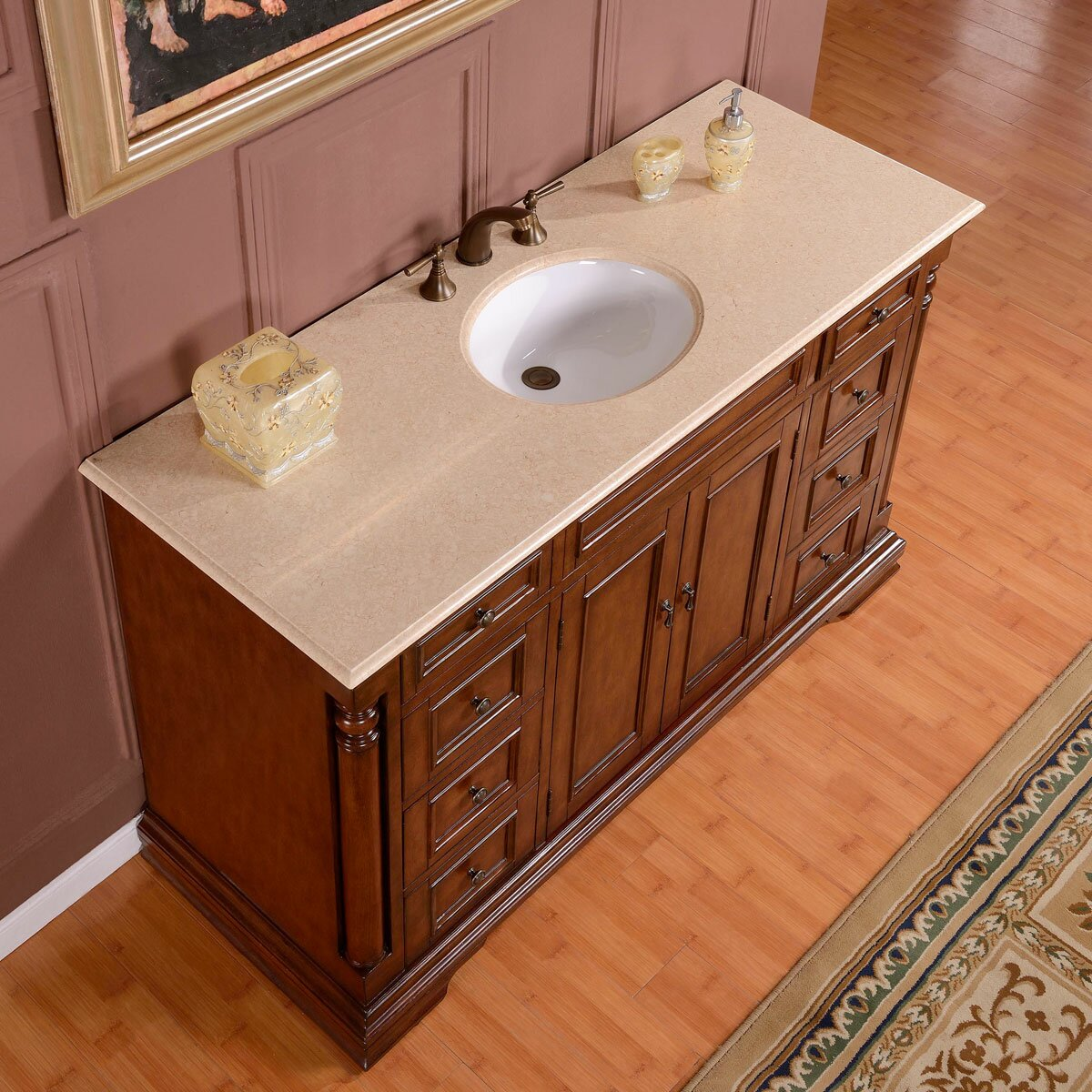 Bathroom single sink cabinets - Silkroad Exclusive 58 Quot Single Sink Cabinet Bathroom Vanity Set