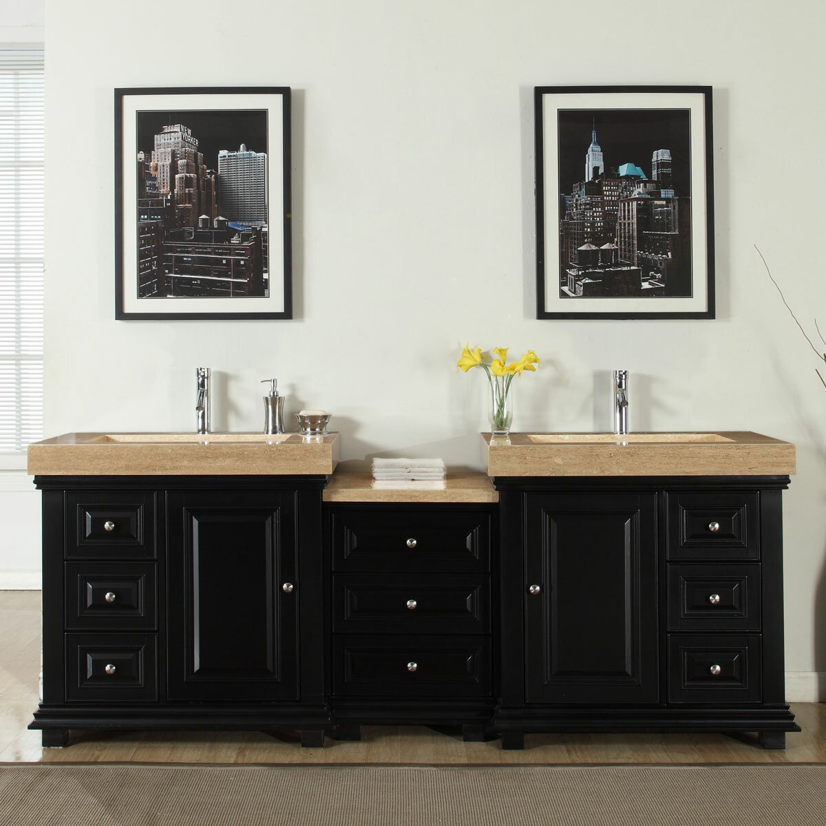 Modern bathroom cabinet - Silkroad Exclusive 90 Quot Double Sink Modern Bathroom Vanity Set