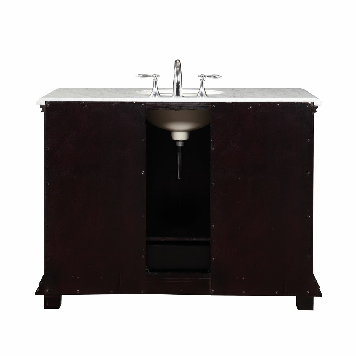 Silkroad exclusive 48 single sink bathroom white marble for Bath toilet and sink sets