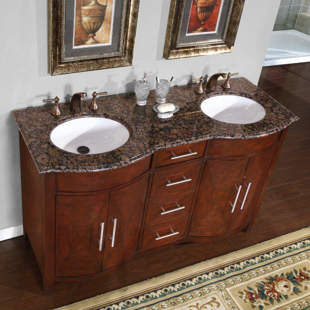Silkroad Exclusive Cambridge 58 Double Bathroom Vanity Set Reviews Wayfair