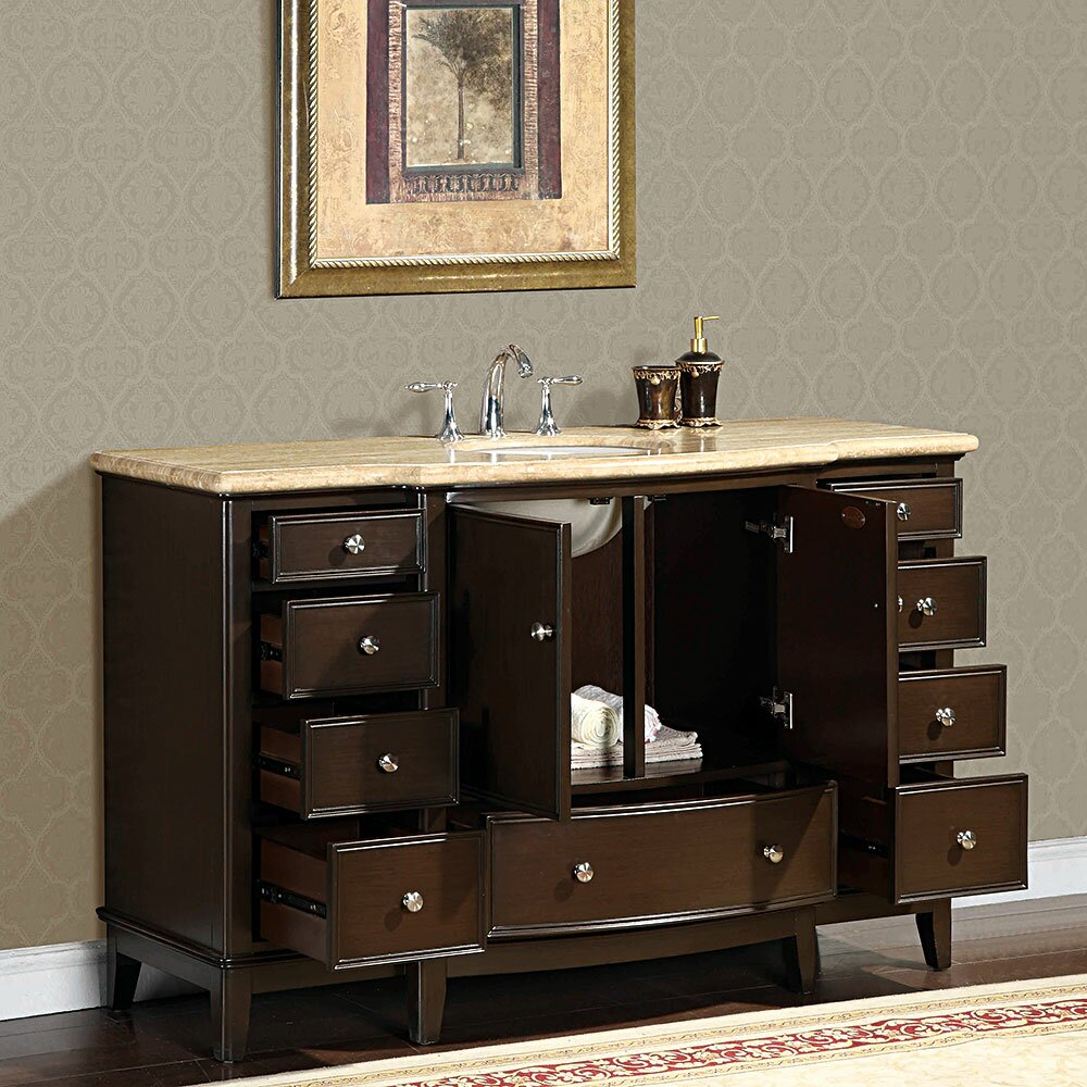 Silkroad Exclusive Clarice 60 quot  Single Bathroom Vanity Set. Silkroad Exclusive Clarice 60  Single Bathroom Vanity Set