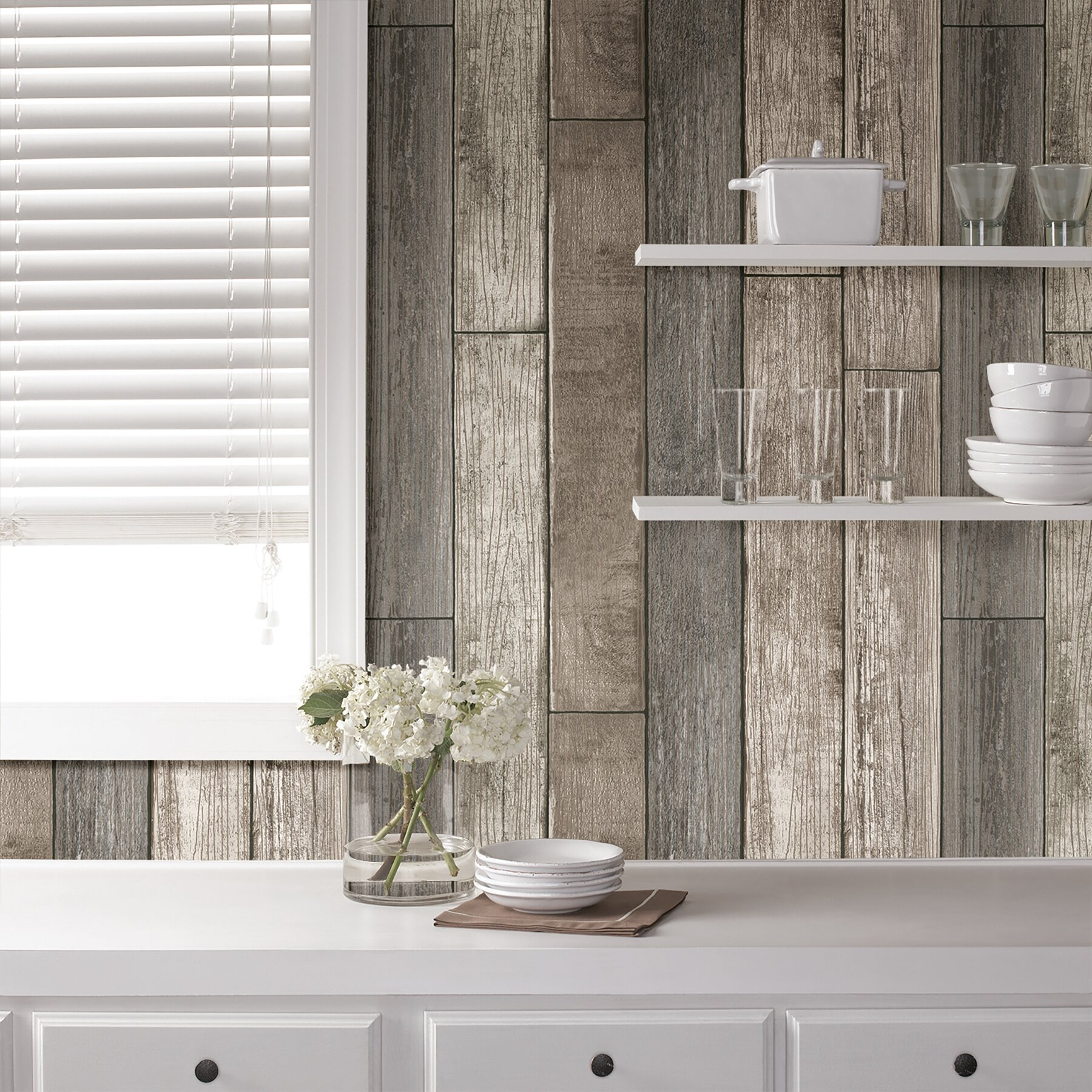 Wallpops nu 18 39 x 20 5 reclaimed wood plank natural peel for Vinyl peel and stick wallpaper