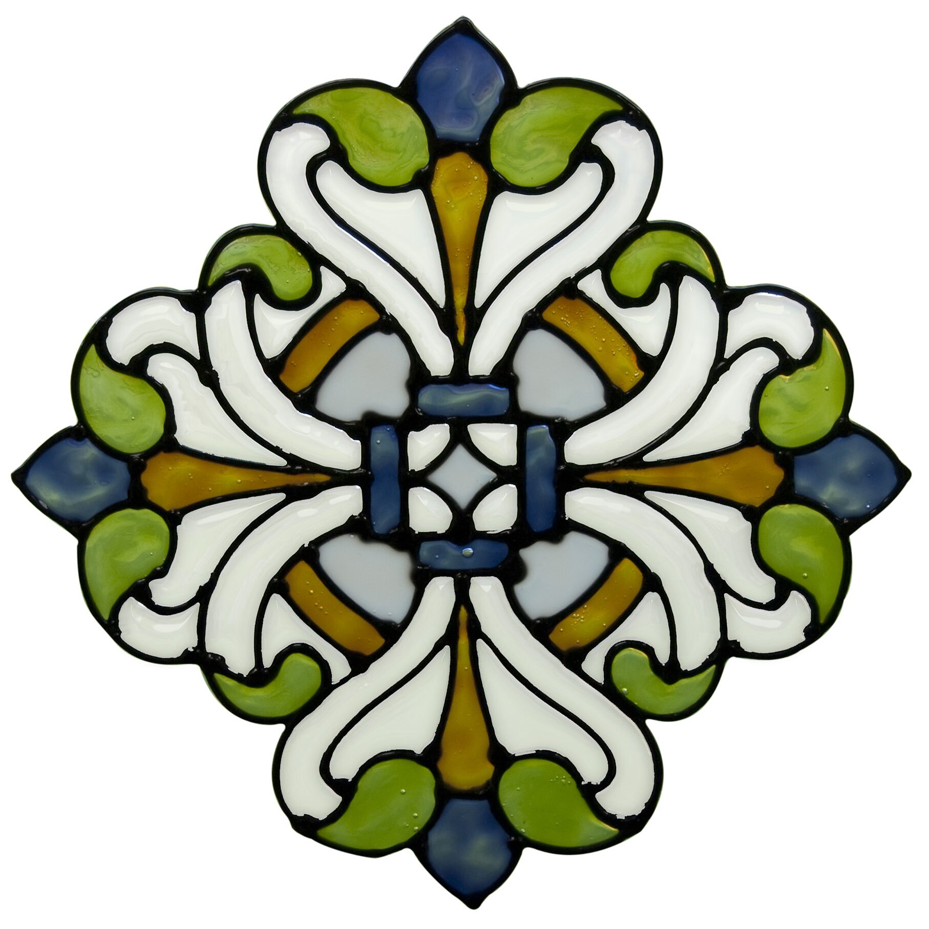Brewster home fashions medici medallion stained glass for Getting stickers off glass