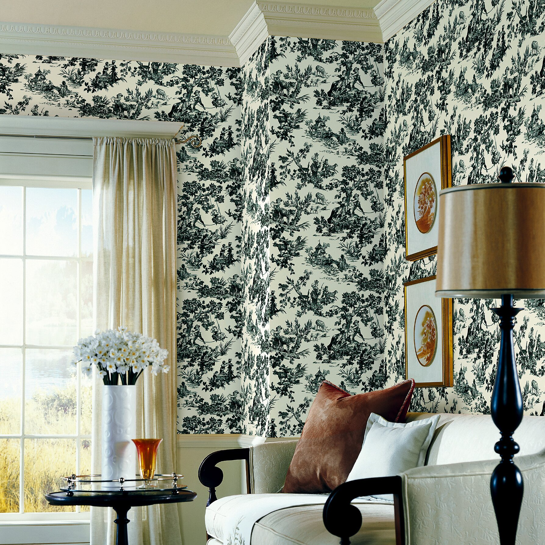 """Brewster Home Fashions Ink 33' x 20.5"""" Toile 3D Embossed ..."""