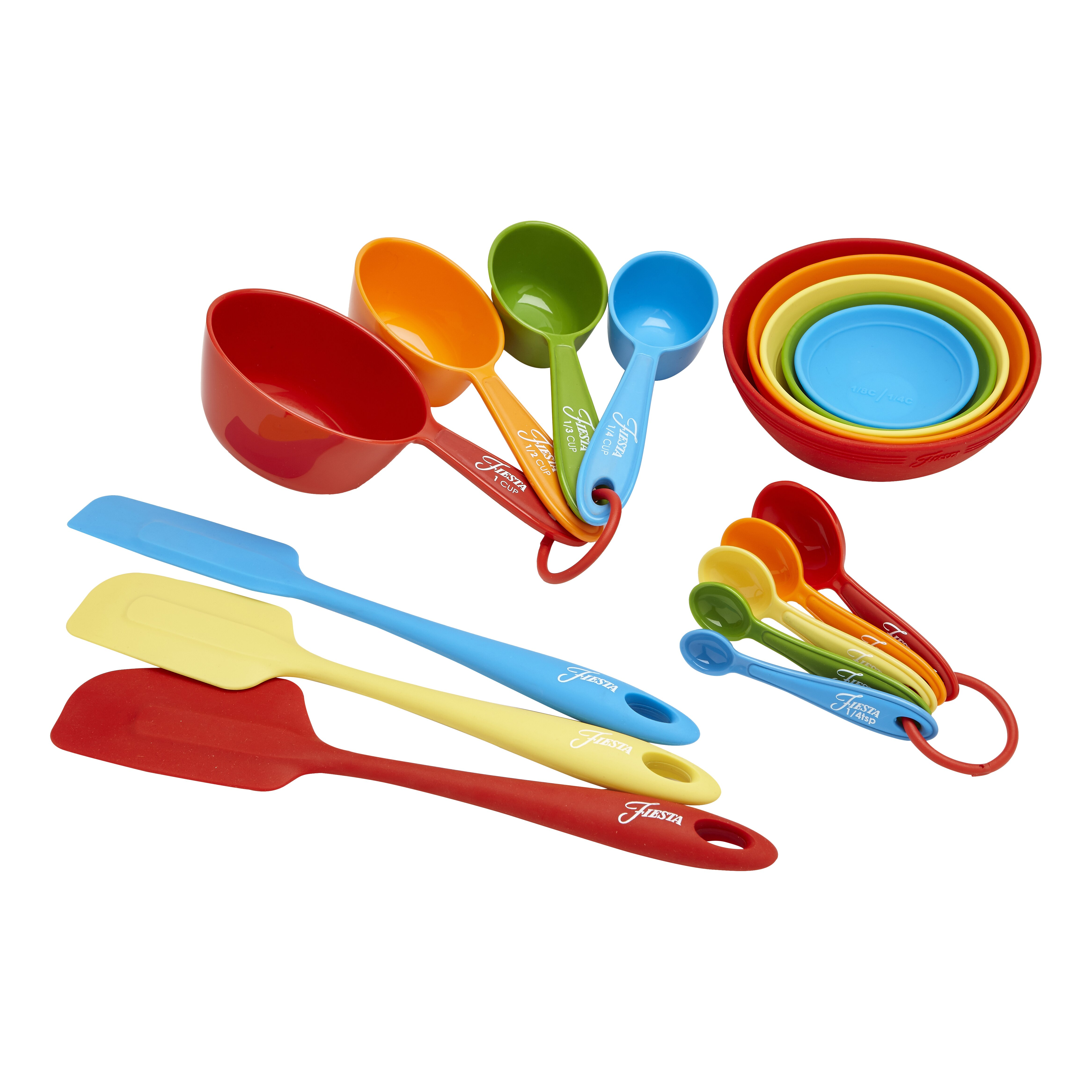 Decorative Measuring Spoons And Cups Fiesta 17 Piece Silicone Baking Utensil Set Reviews Wayfair