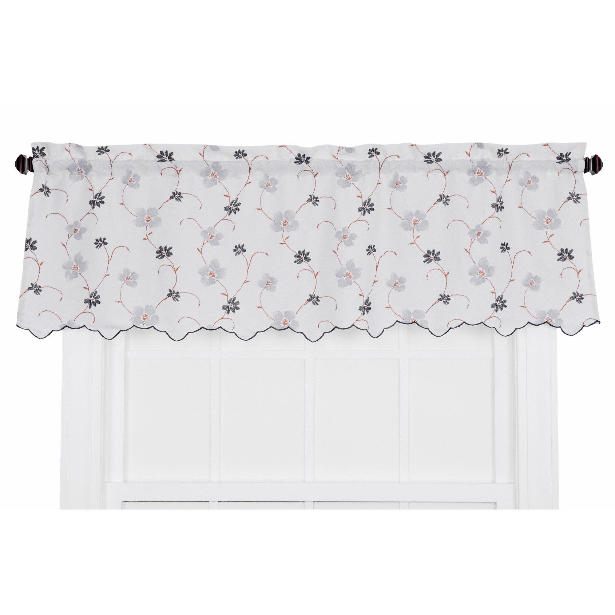 Open black curtain - Ellis Curtain Zoe Crushed Taffeta Open Floral Print Curtain Valance
