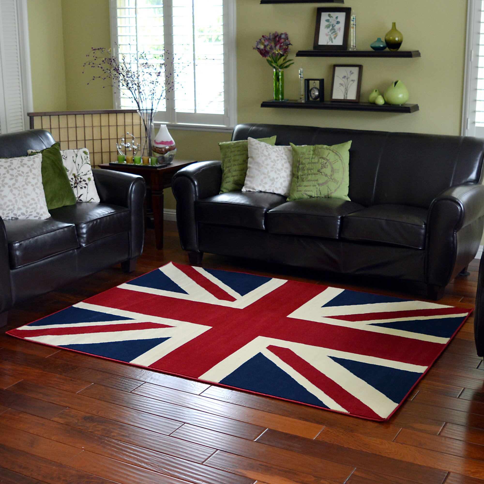 DonnieAnn Company American Patriot Flag of British Union Jack Area Rug