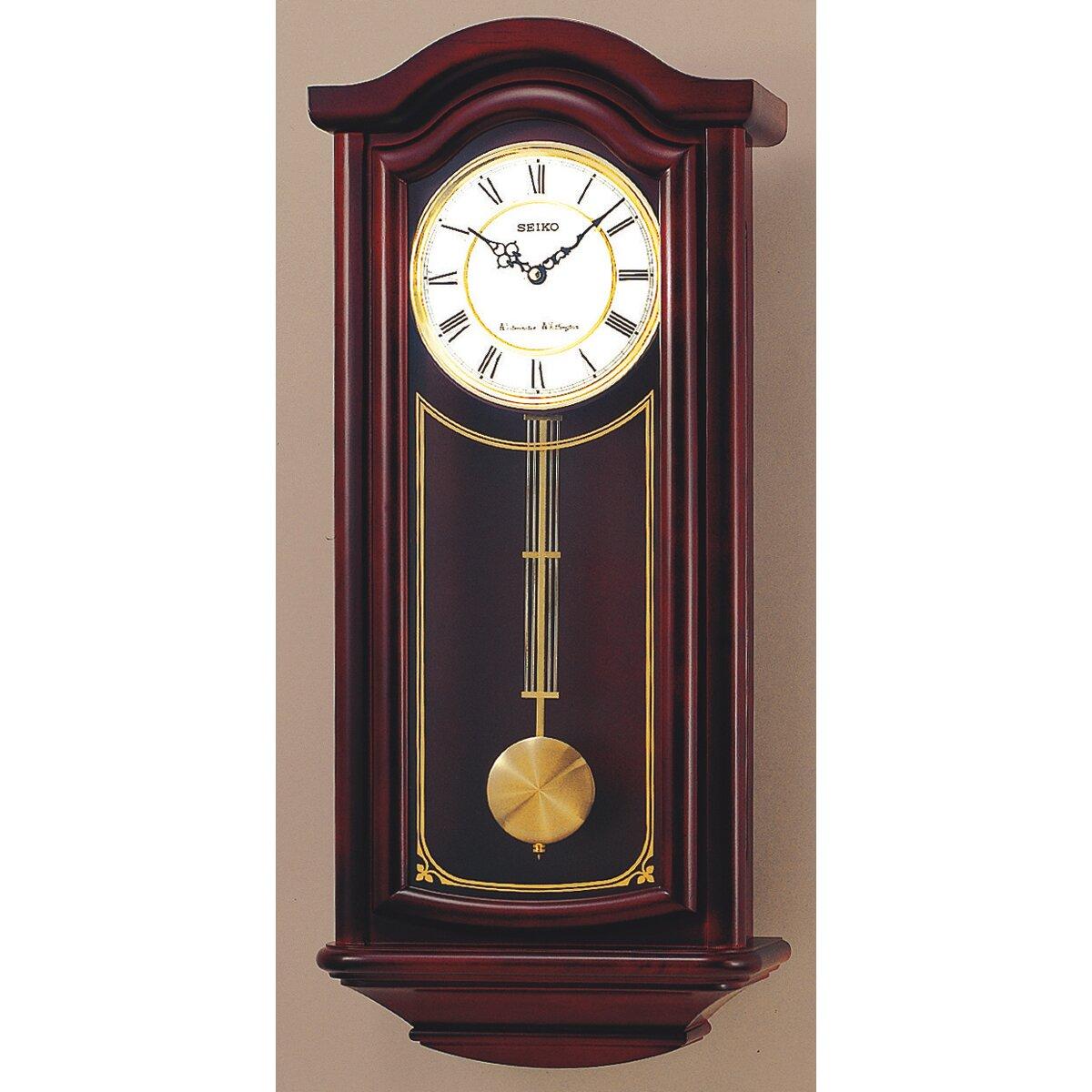 Seiko Solid Wood Pendulum Wall Clock Amp Reviews Wayfair