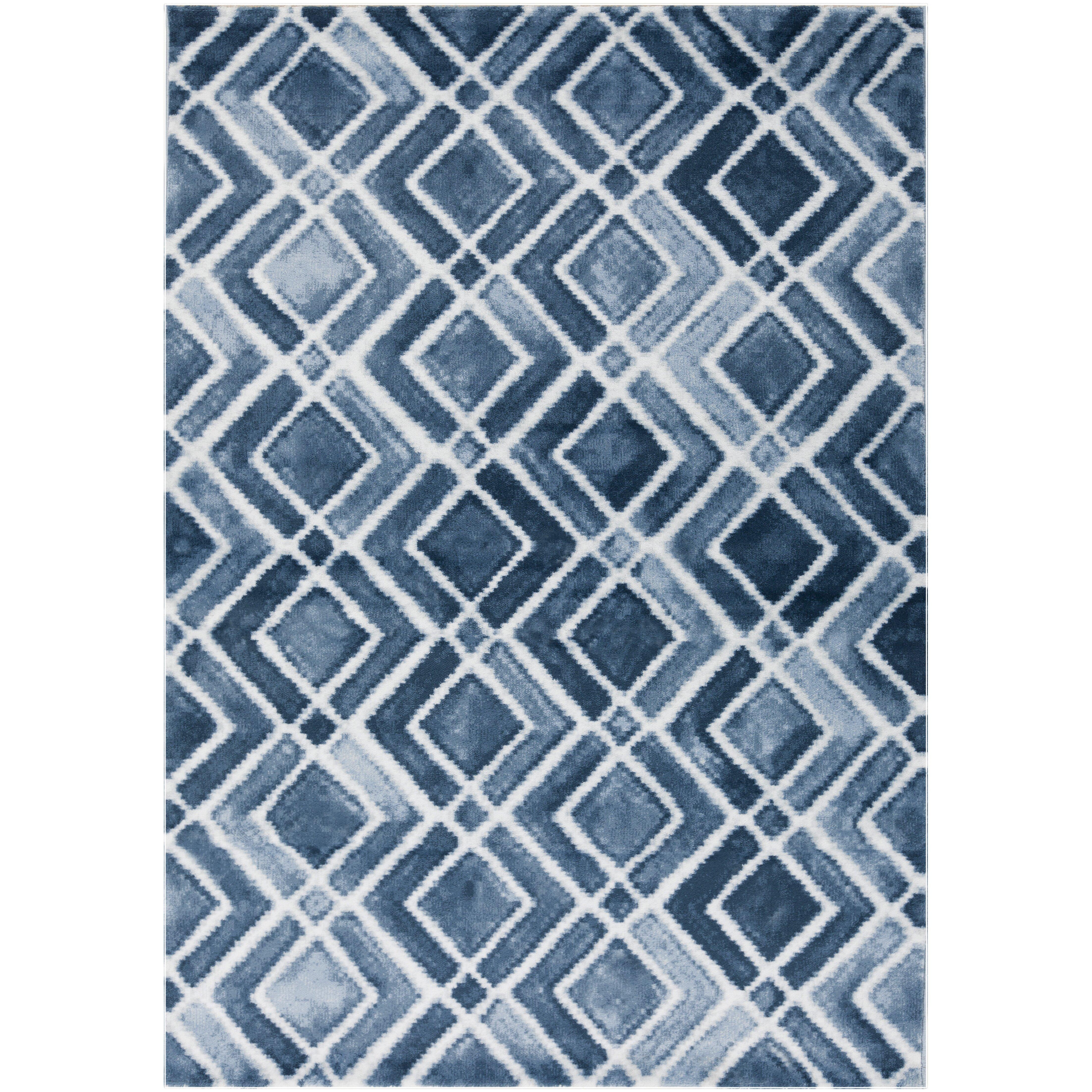 Varick Galleryu0026reg Lamoure Nova Navy Blue White Area Rug