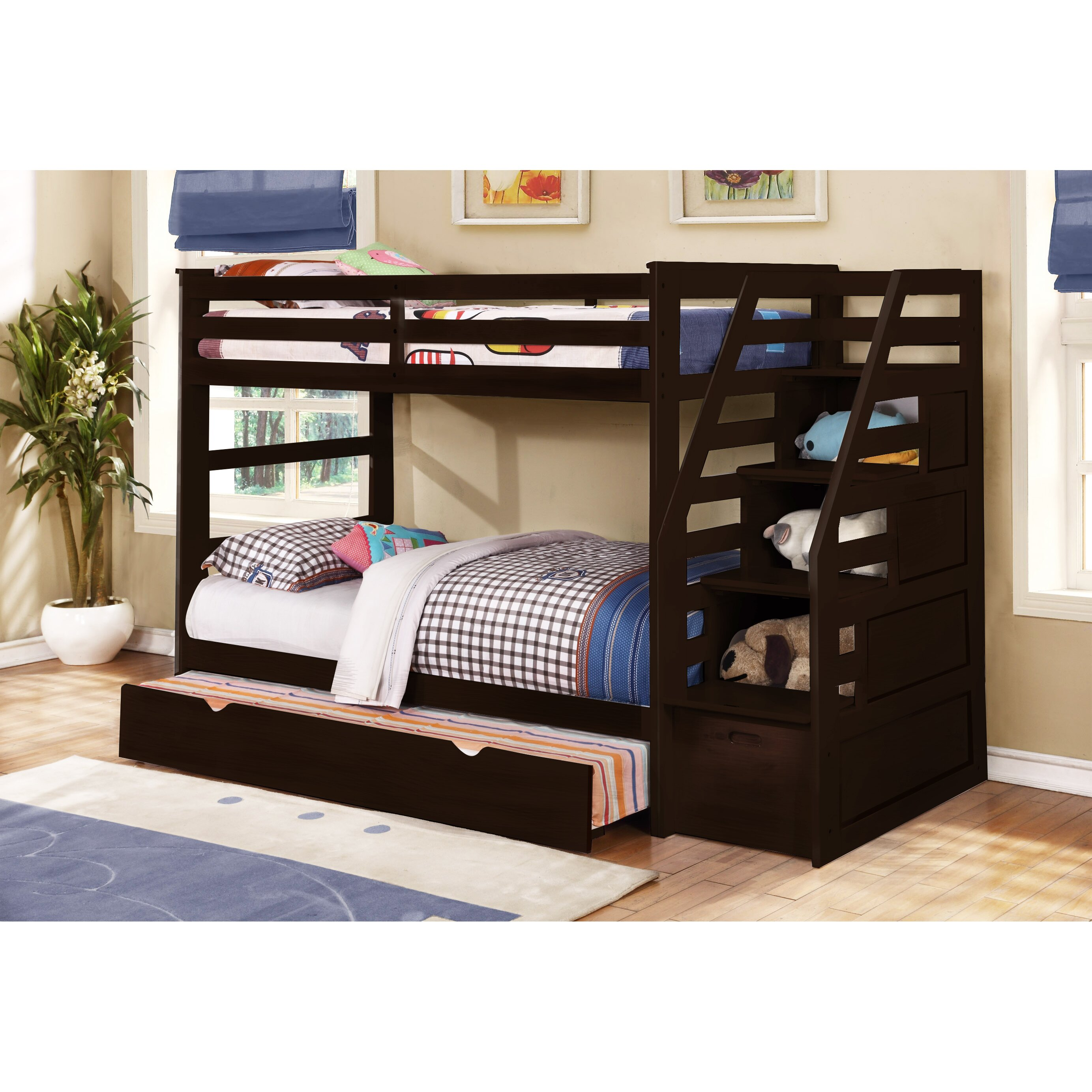 wildon home cosmo twin bunk bed with trundle and storage. Black Bedroom Furniture Sets. Home Design Ideas
