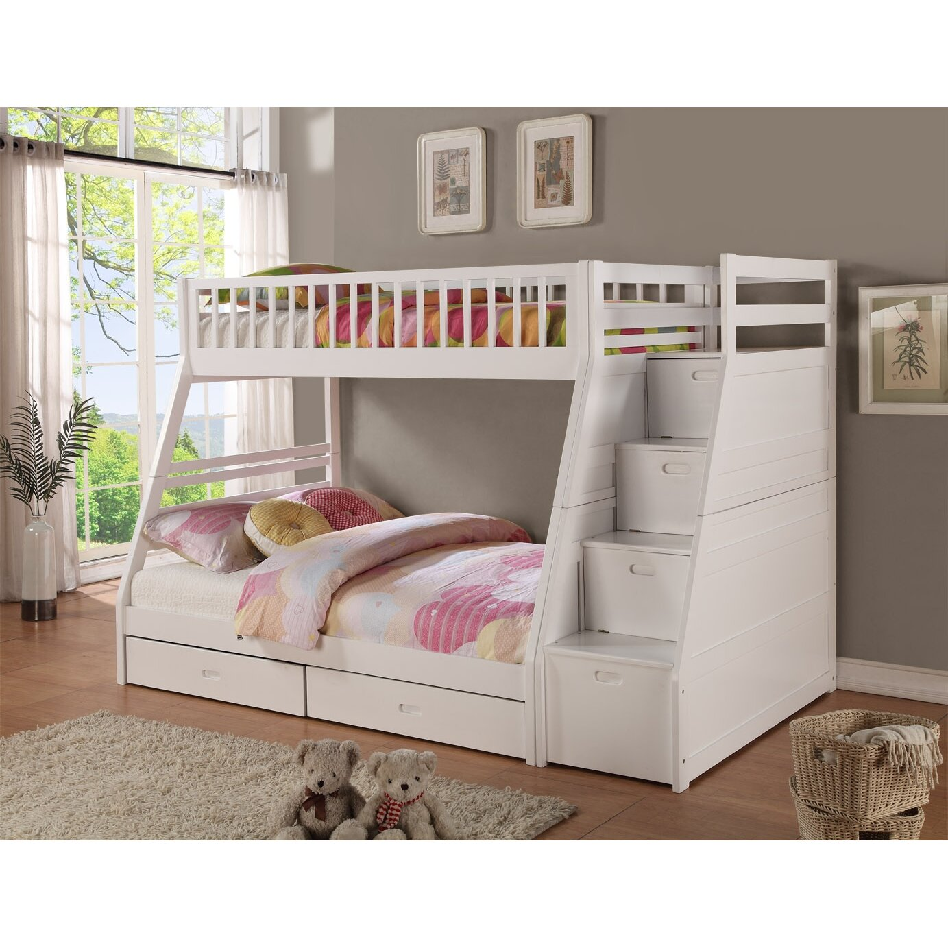 Pine bunk beds with storage - Wildon Home Reg Dakota Twin Over Full Bunk Bed With Storage