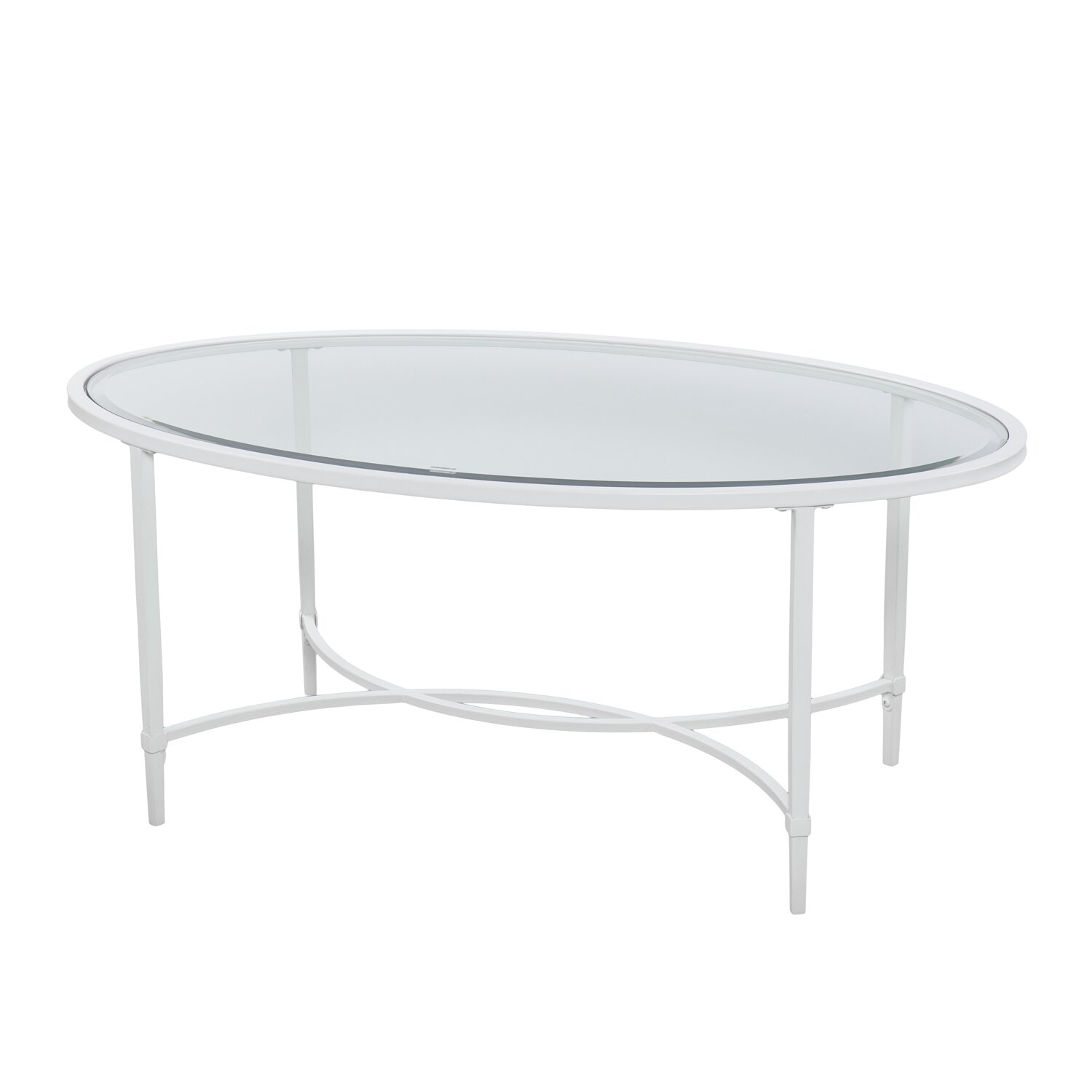 Porter Round Coffee Table: Winston Porter Lincoln Metal/Glass Oval Coffee Table