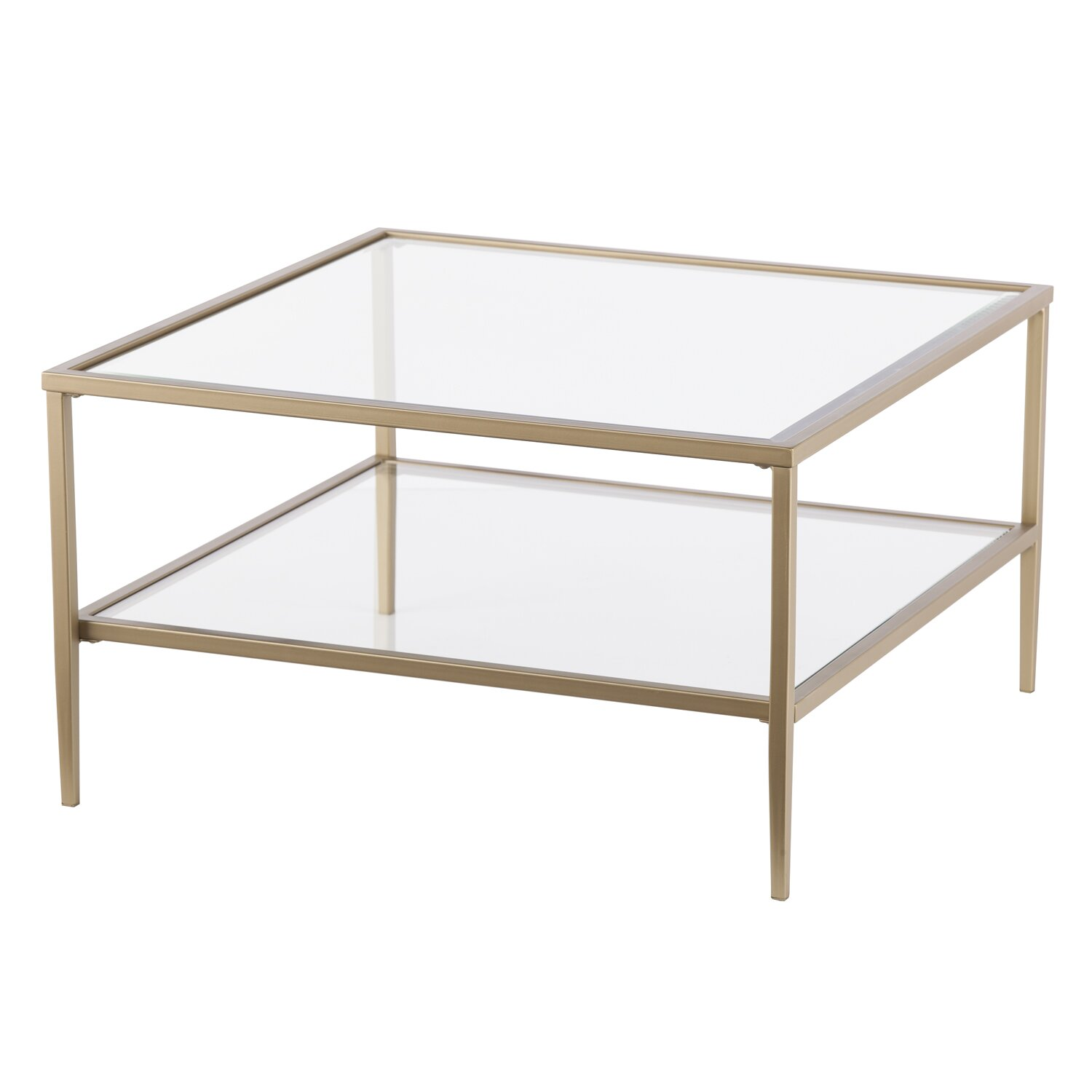 Red barrel studio myron square metal glass open shelf for 2 shelf glass coffee table