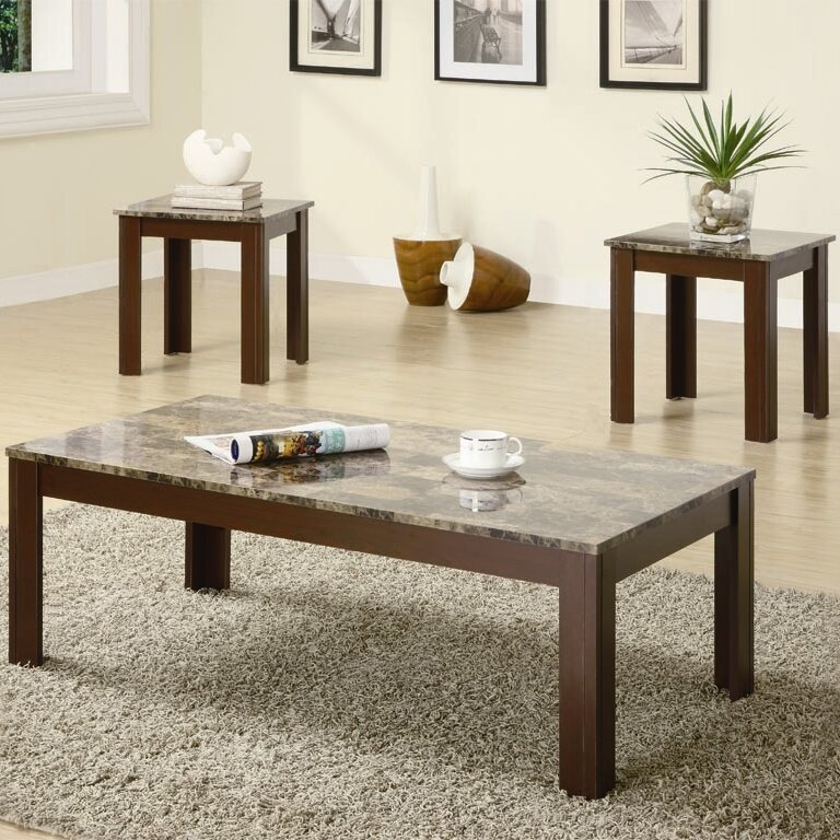 Charlton home colmer 3 piece coffee table set in brown wayfair Coffee table set clearance
