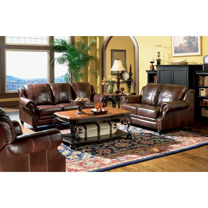 wildon home harvard 2 piece leather living room set