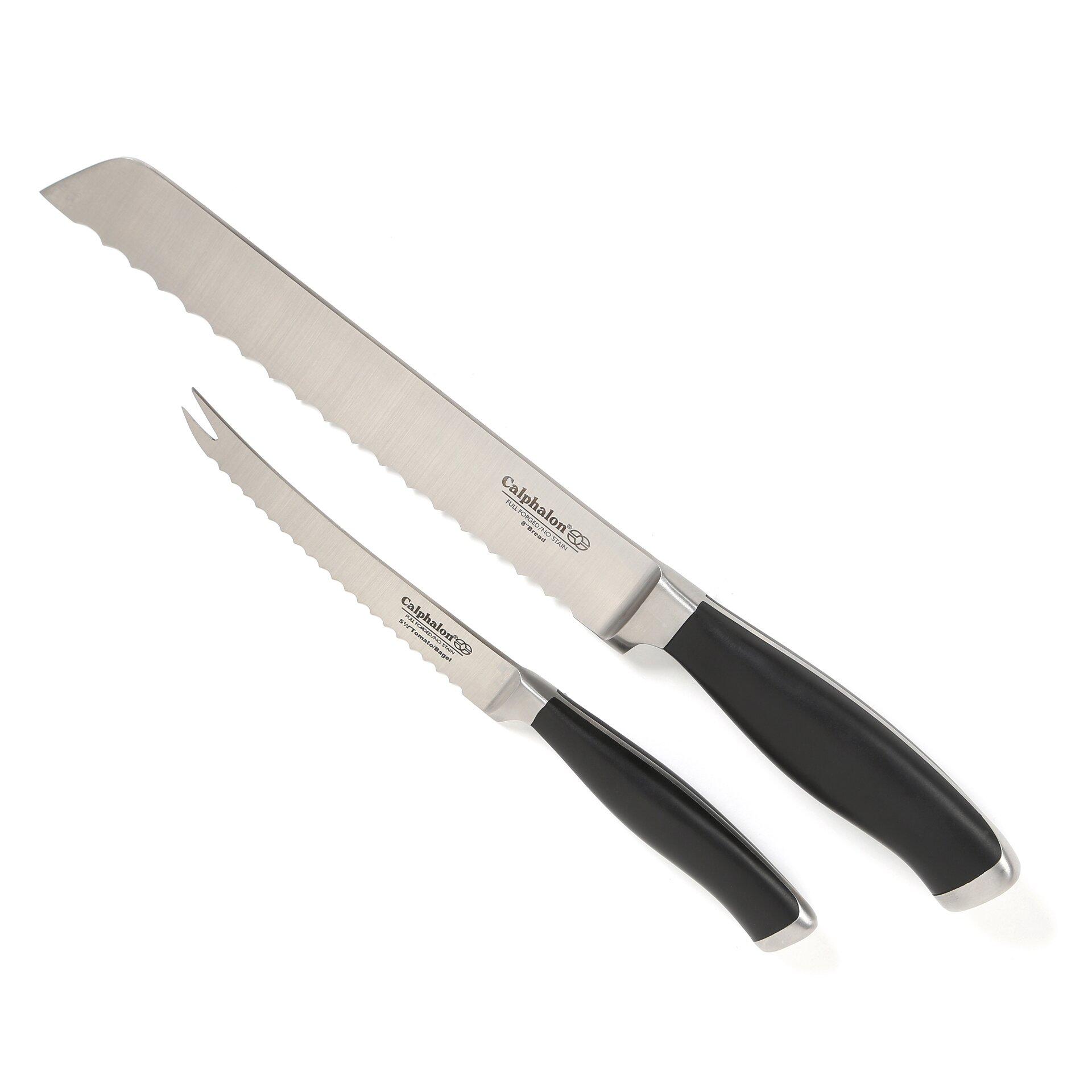calphalon calphalon cutlery tomato amp bread knife set in calphalon contemporary cutlery 2 piece paring knife set