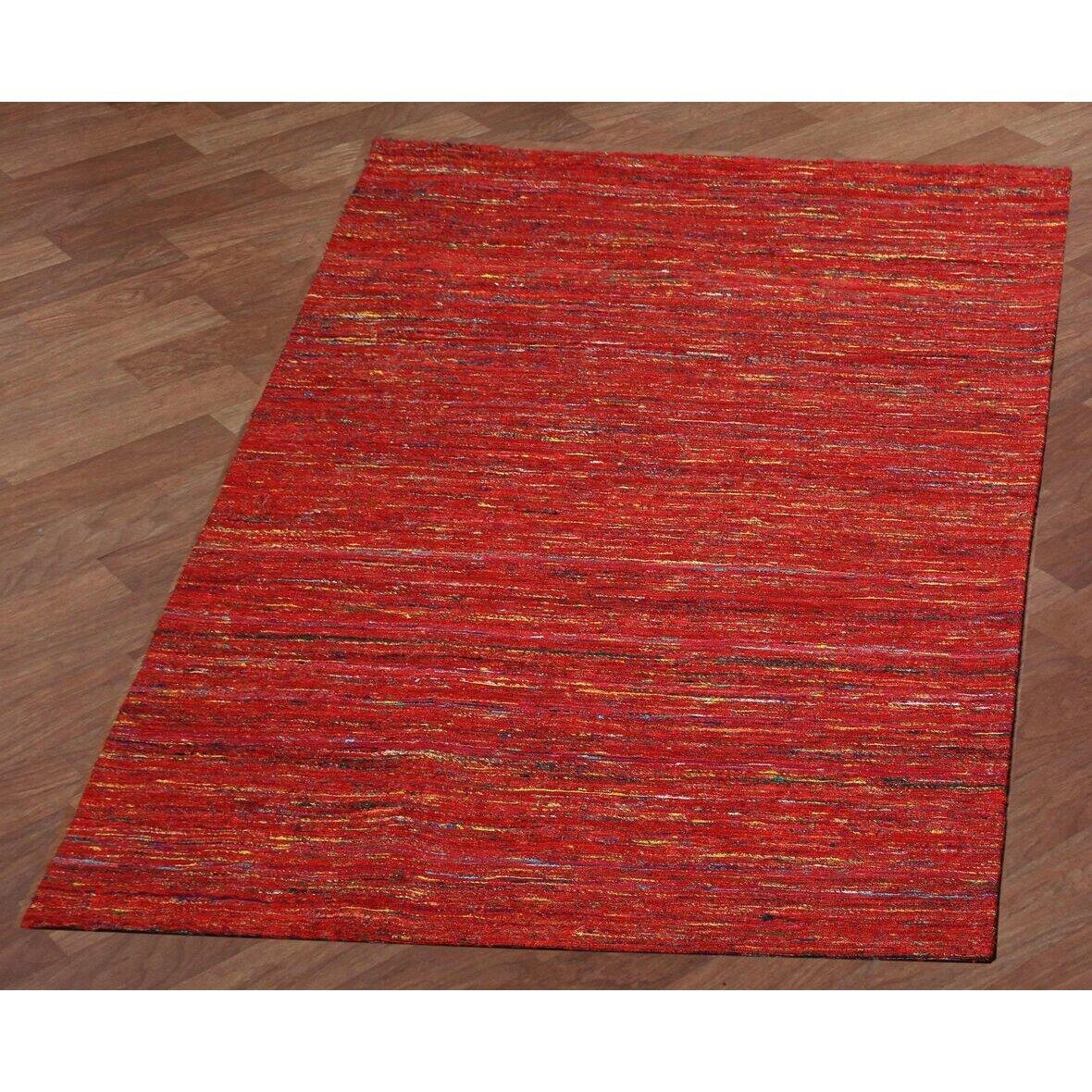 St croix sari silk handmade red area rug wayfair for Custom made area rugs