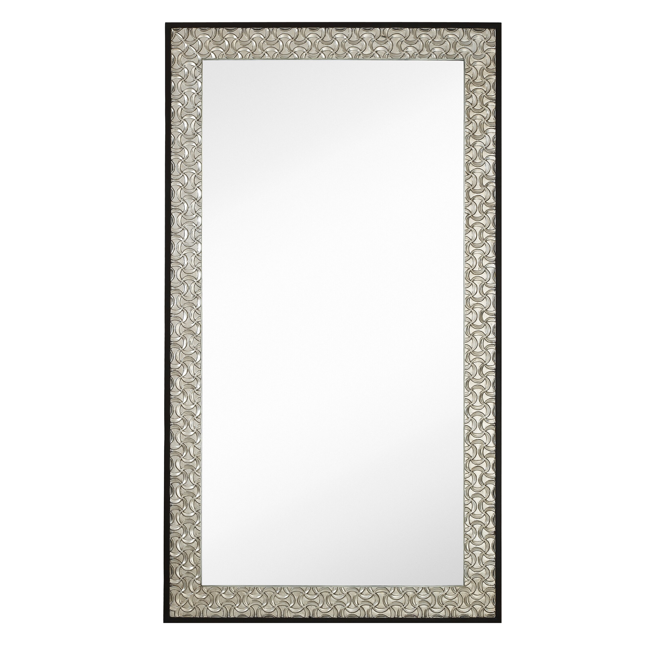 Majestic mirror long rectangular silver leaf with dark for Long glass mirror