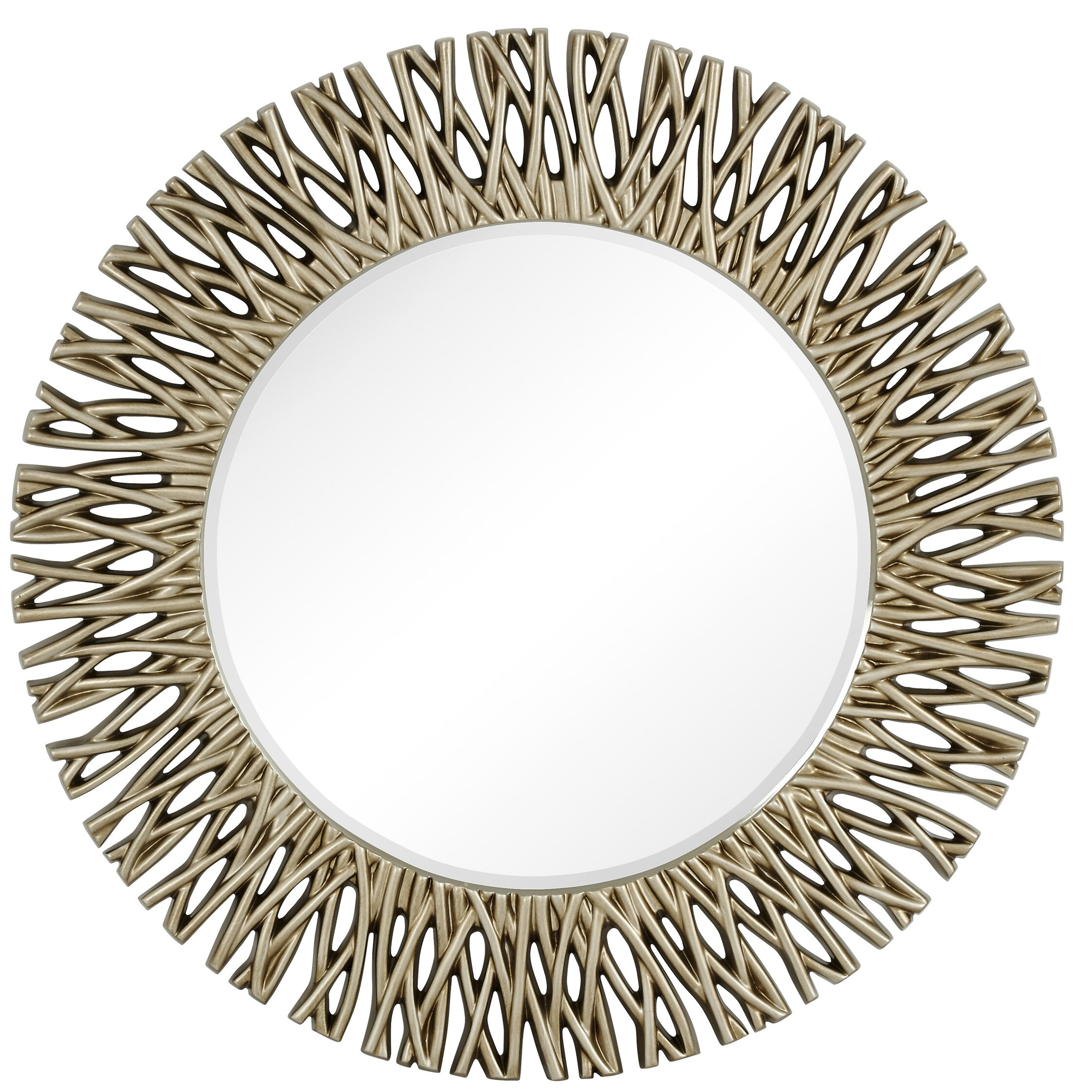 Majestic Mirror Large Round Antique Silver Decorative Beveled - Large decorative wall mirror