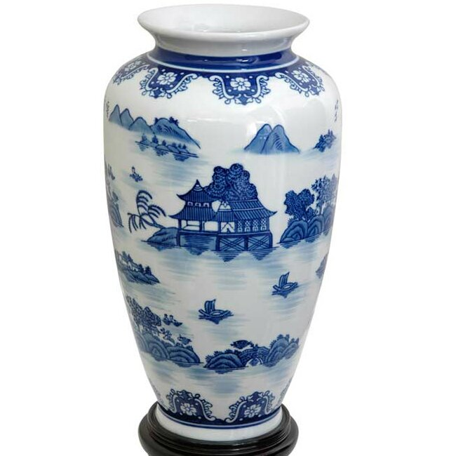 Oriental furniture landscape tung chi vase reviews wayfair for Oriental vase and furniture