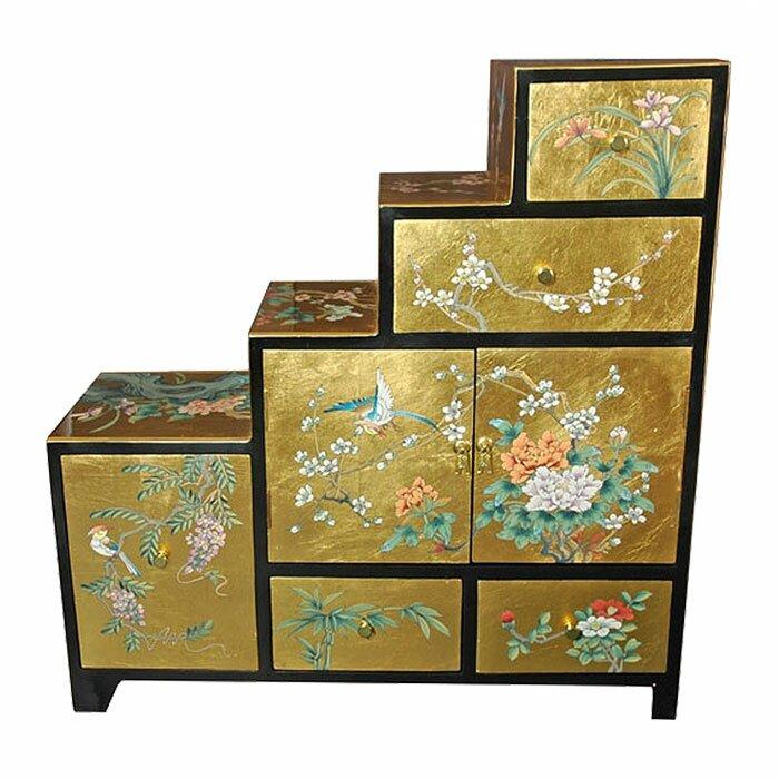 Oriental furniture chinese leaf step tansu cabinet for Asian furniture emeryville ca