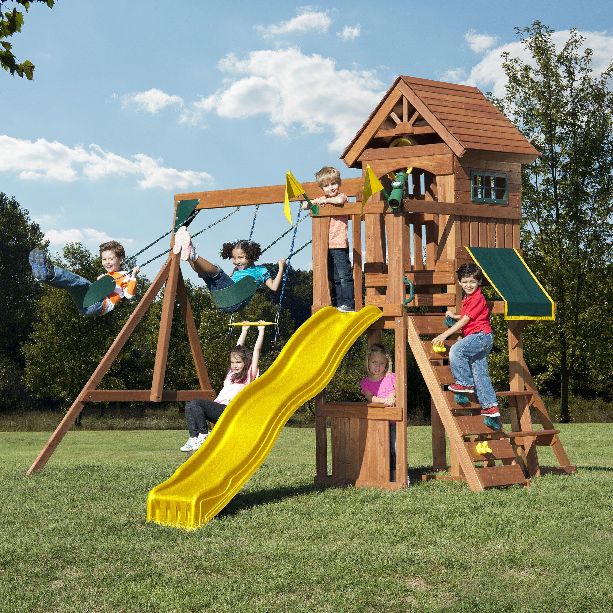 Swing N Slide Jamboree Fort Play Swing Set Amp Reviews Wayfair