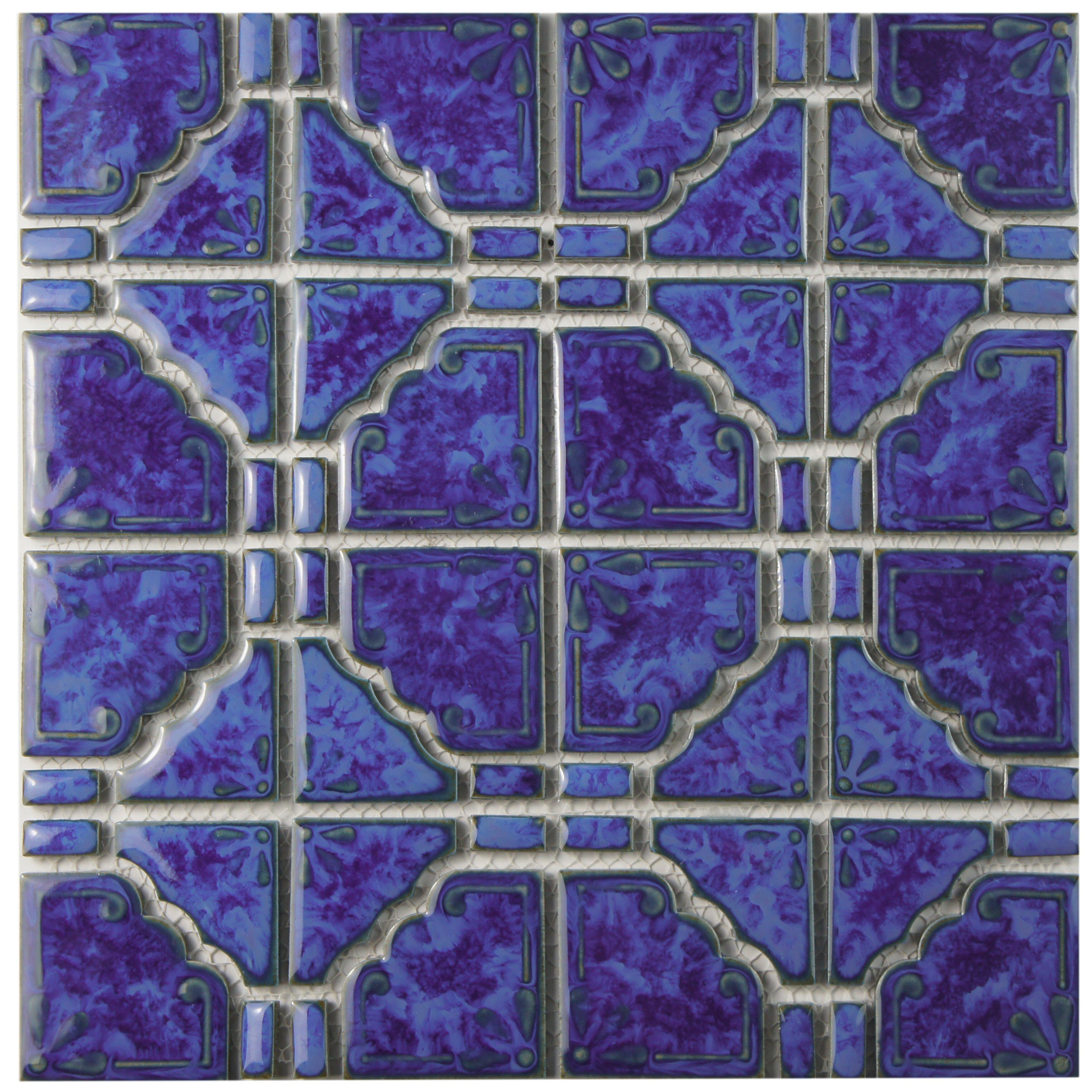Elitetile elara random sized porcelain mosaic tile in blue wayfair