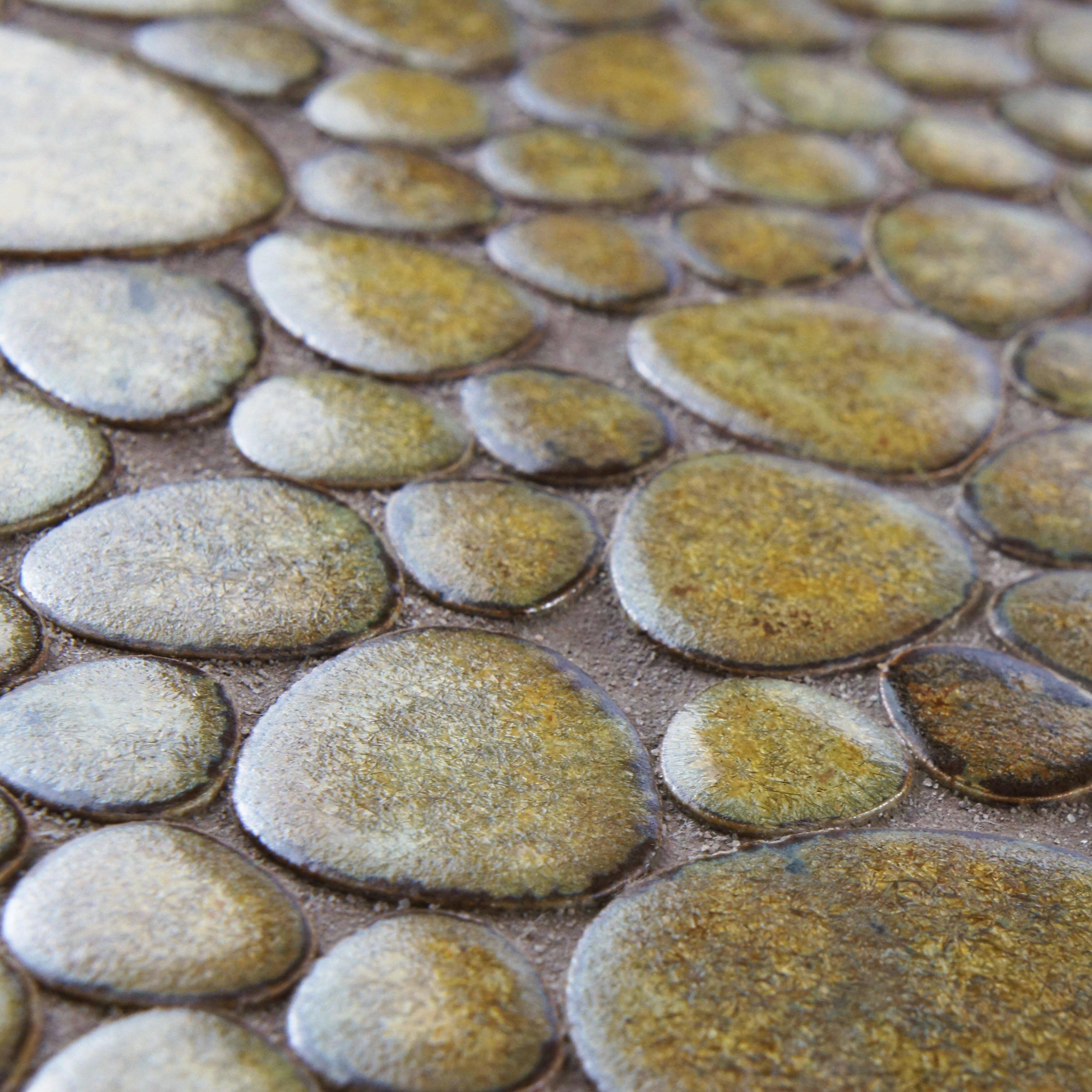 Elitetile boulder random sized porcelain mosaic tile in brownstone