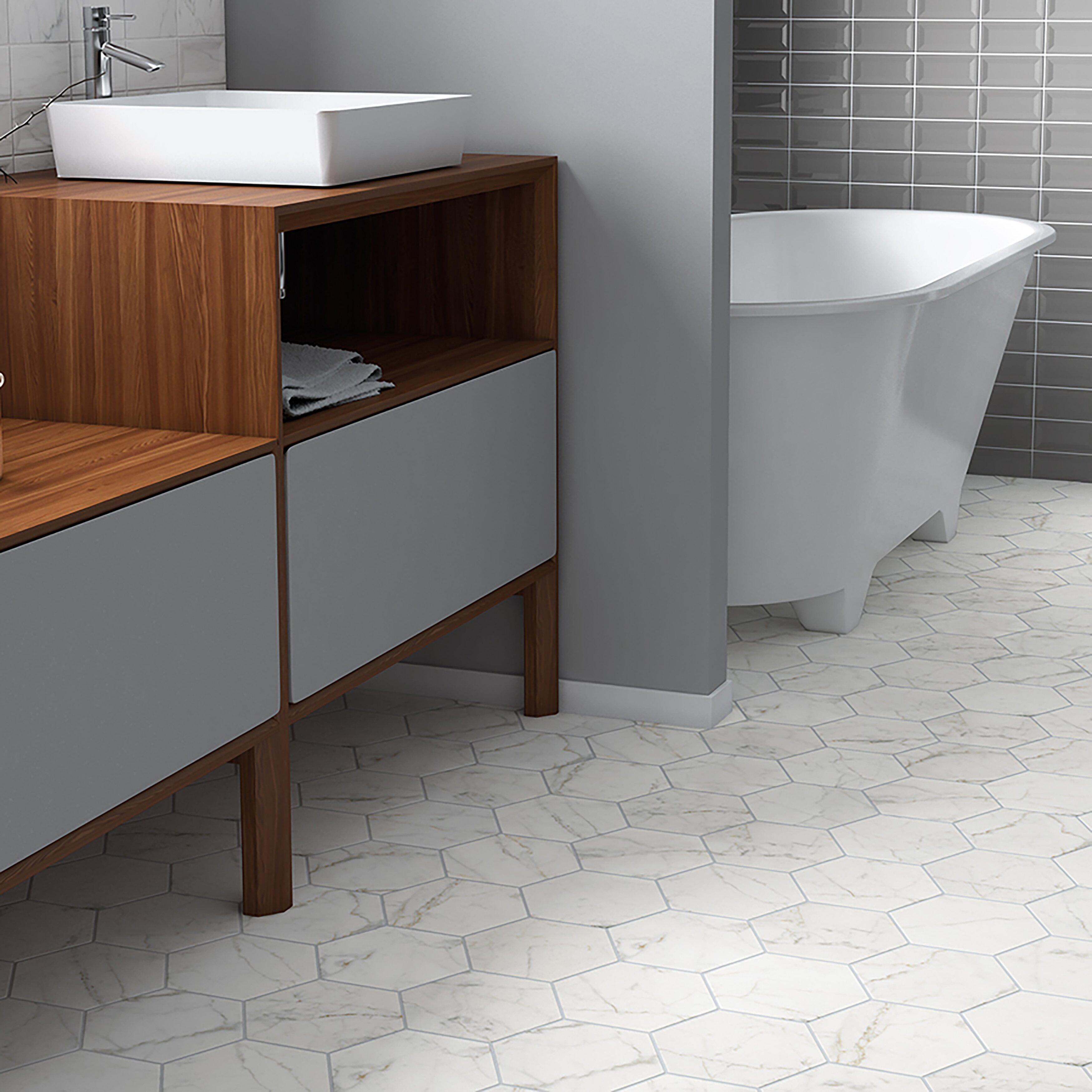 elitetile karra 7 x 8 hexagon porcelain field tile white. Black Bedroom Furniture Sets. Home Design Ideas