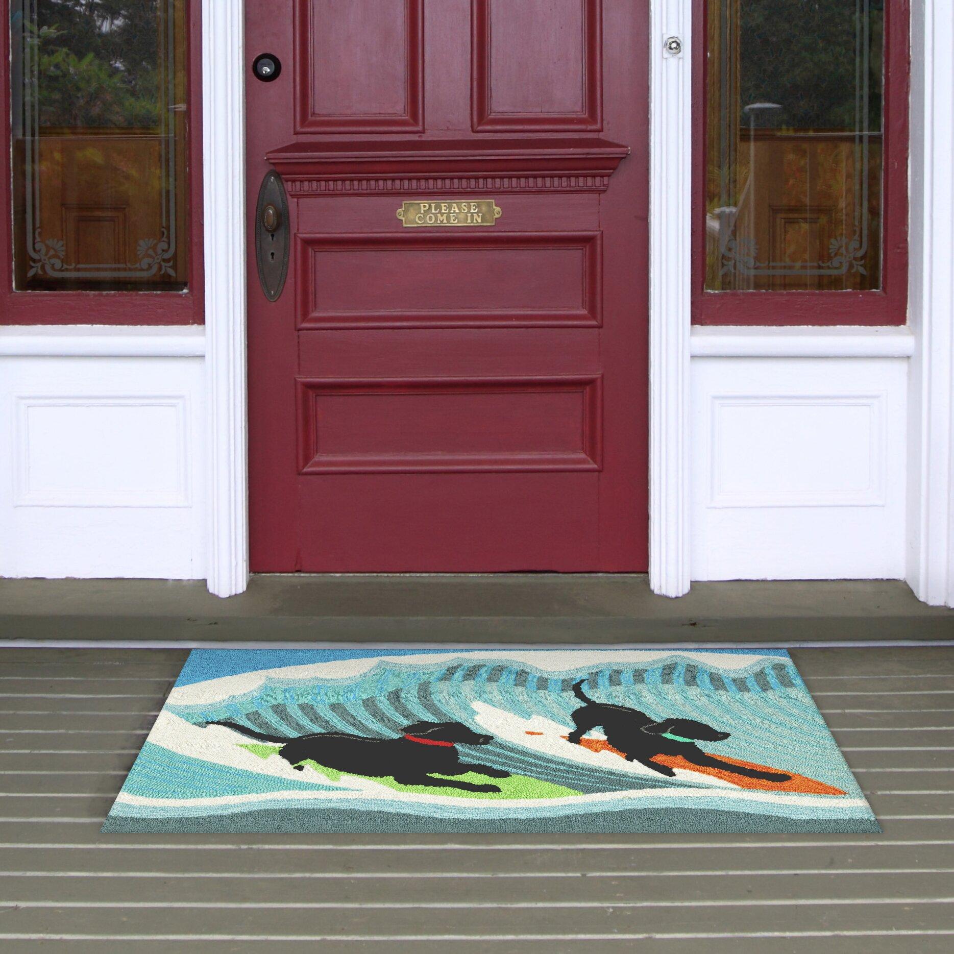 Transocean Dog Rug: Liora Manne Frontporch Surfing Dogs Blue Indoor/Outdoor