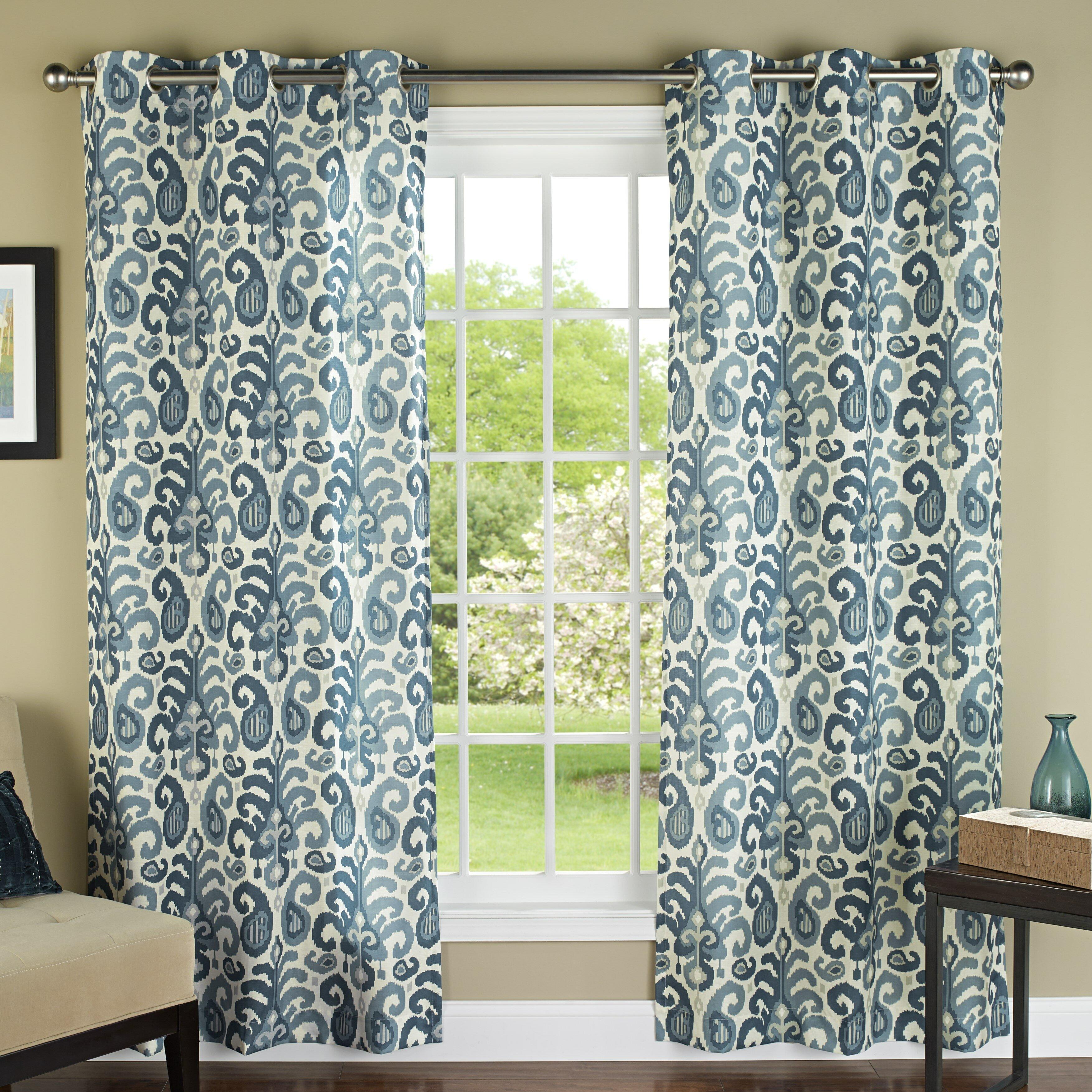 Ikat curtain panels - Yellow Ikat Curtains M Style Ikat Plume Grommet Curtain Panels