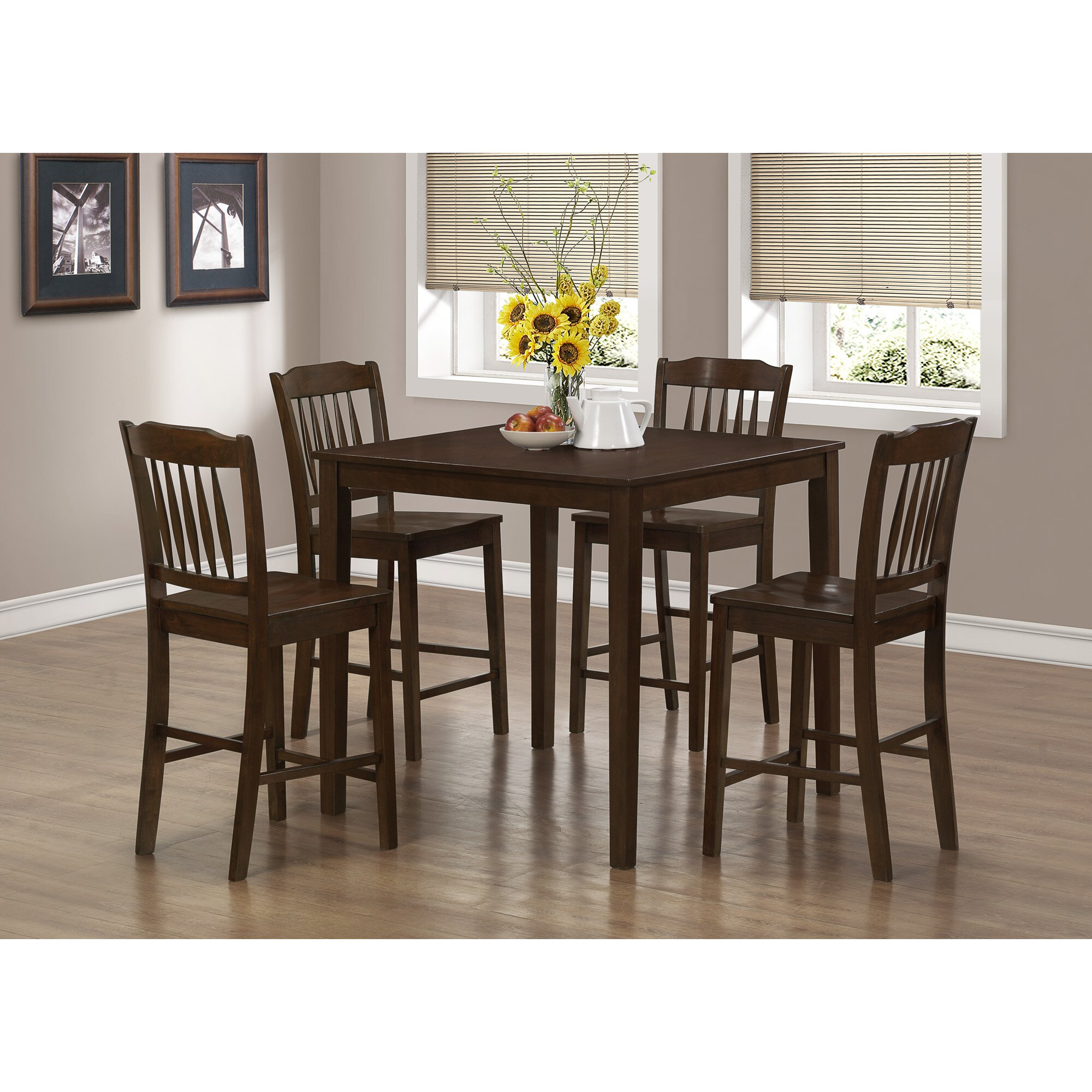 Monarch Specialties White Dining Set With Round Dining: Monarch Specialties Inc. 5 Piece Counter Height Dining Set